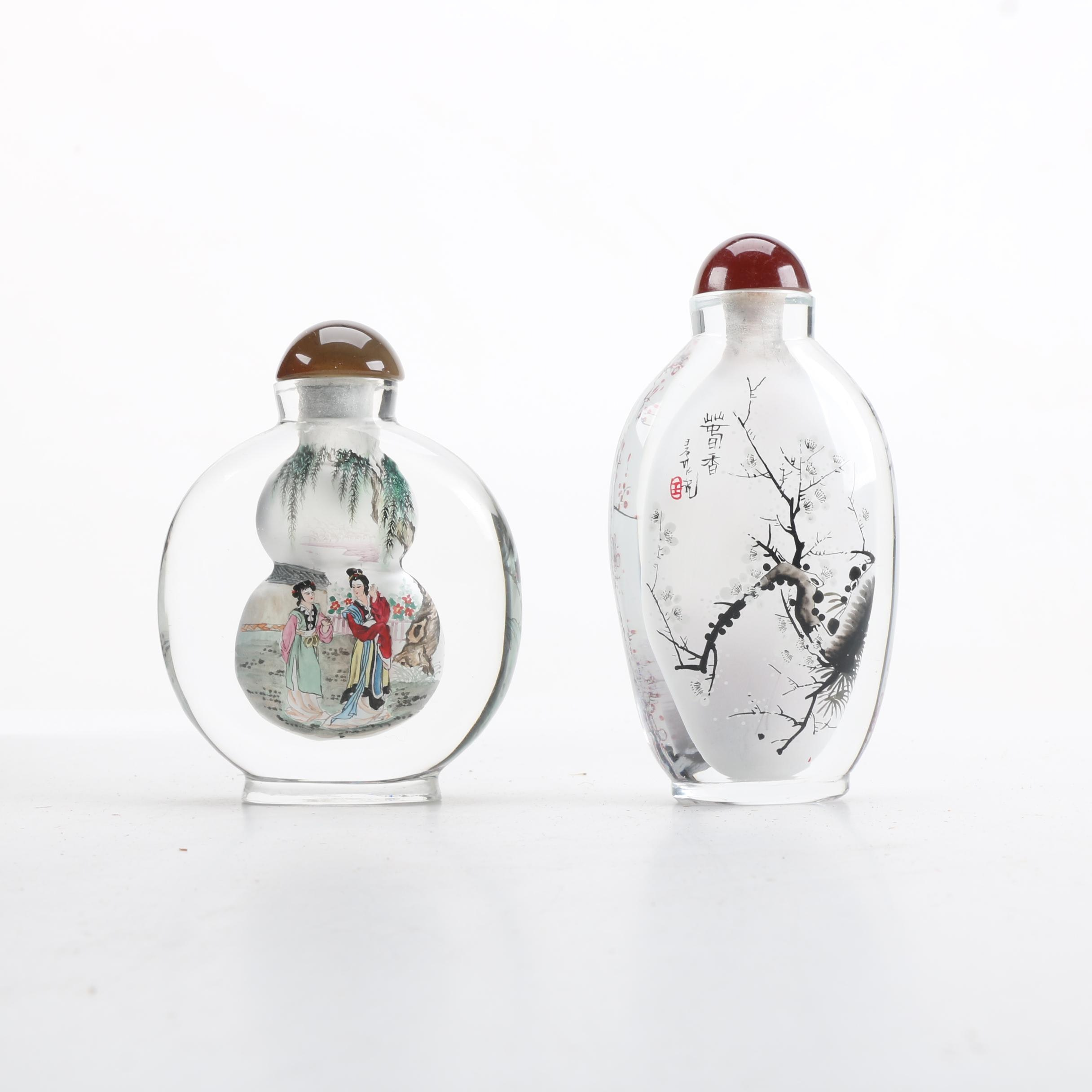 Chinese Hand Reverse Painted Glass Snuff Bottles