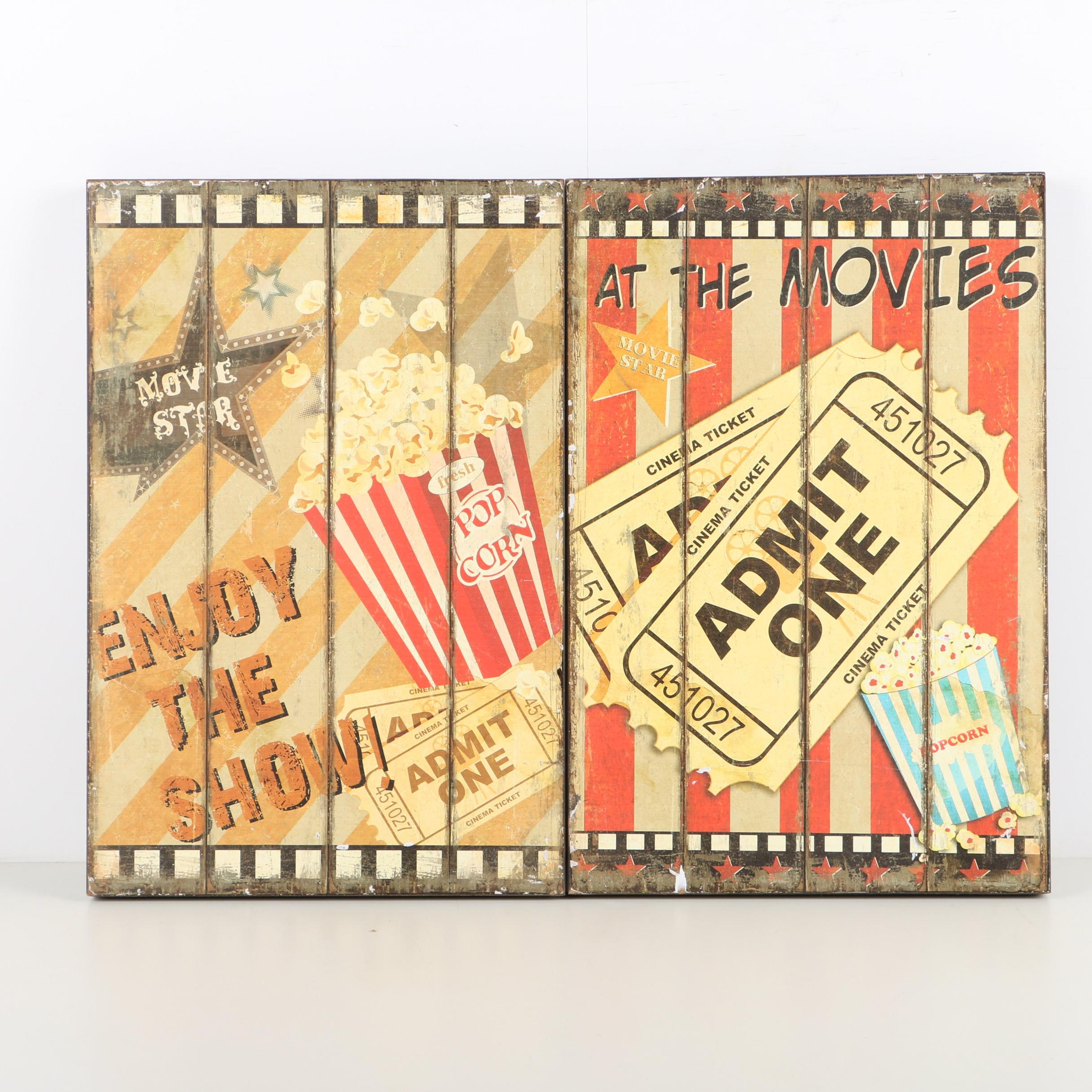 Pair of Giclée Prints on Paper with Movie Theater Themes