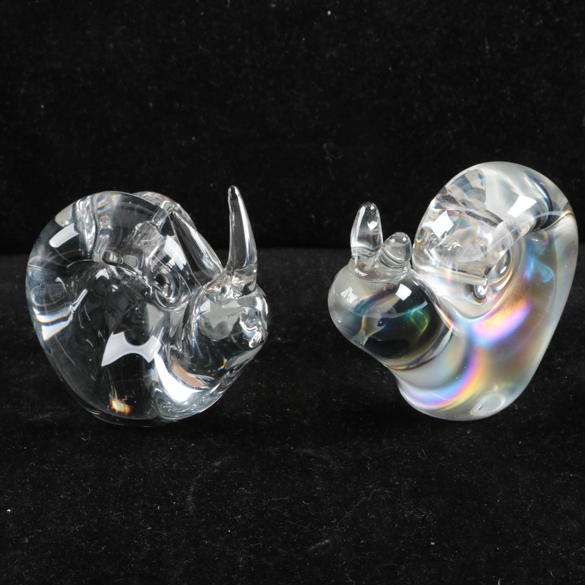 Pair of Crystal Snail Figurines