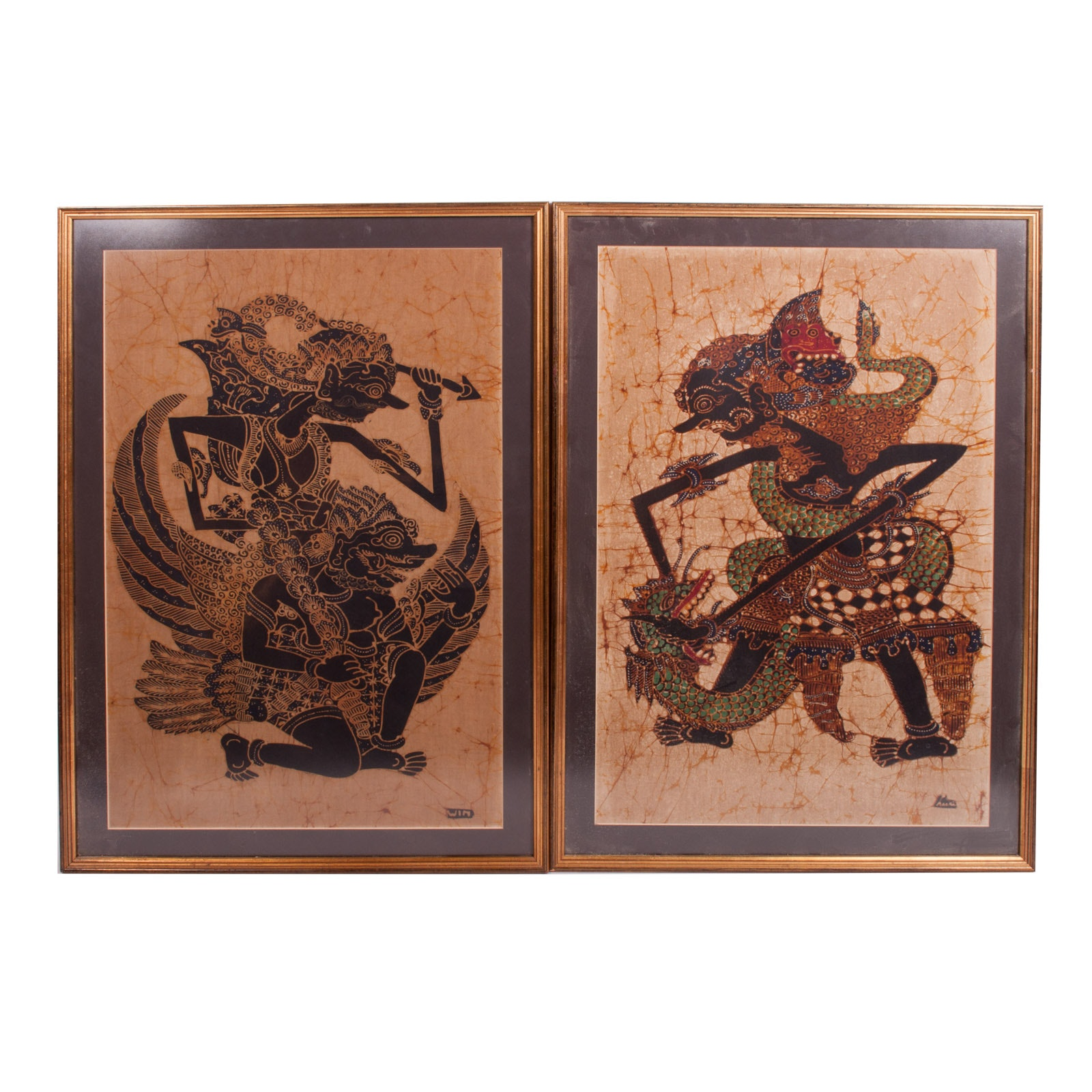 Pair of Indonesian Batik Paintings on Cotton After the Balinese Style