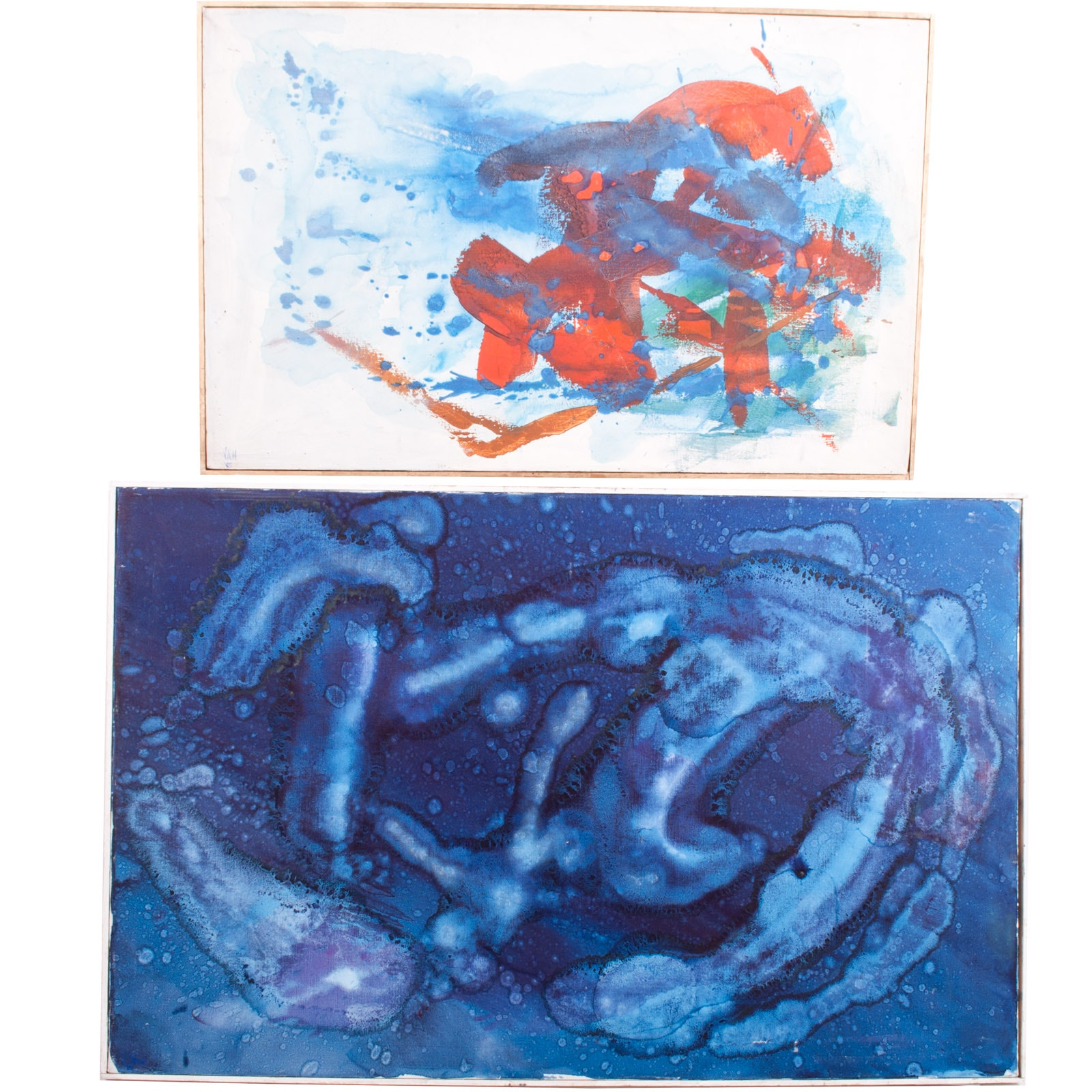 Virginia K. Hess Pair of Abstract Oil Paintings on Canvas