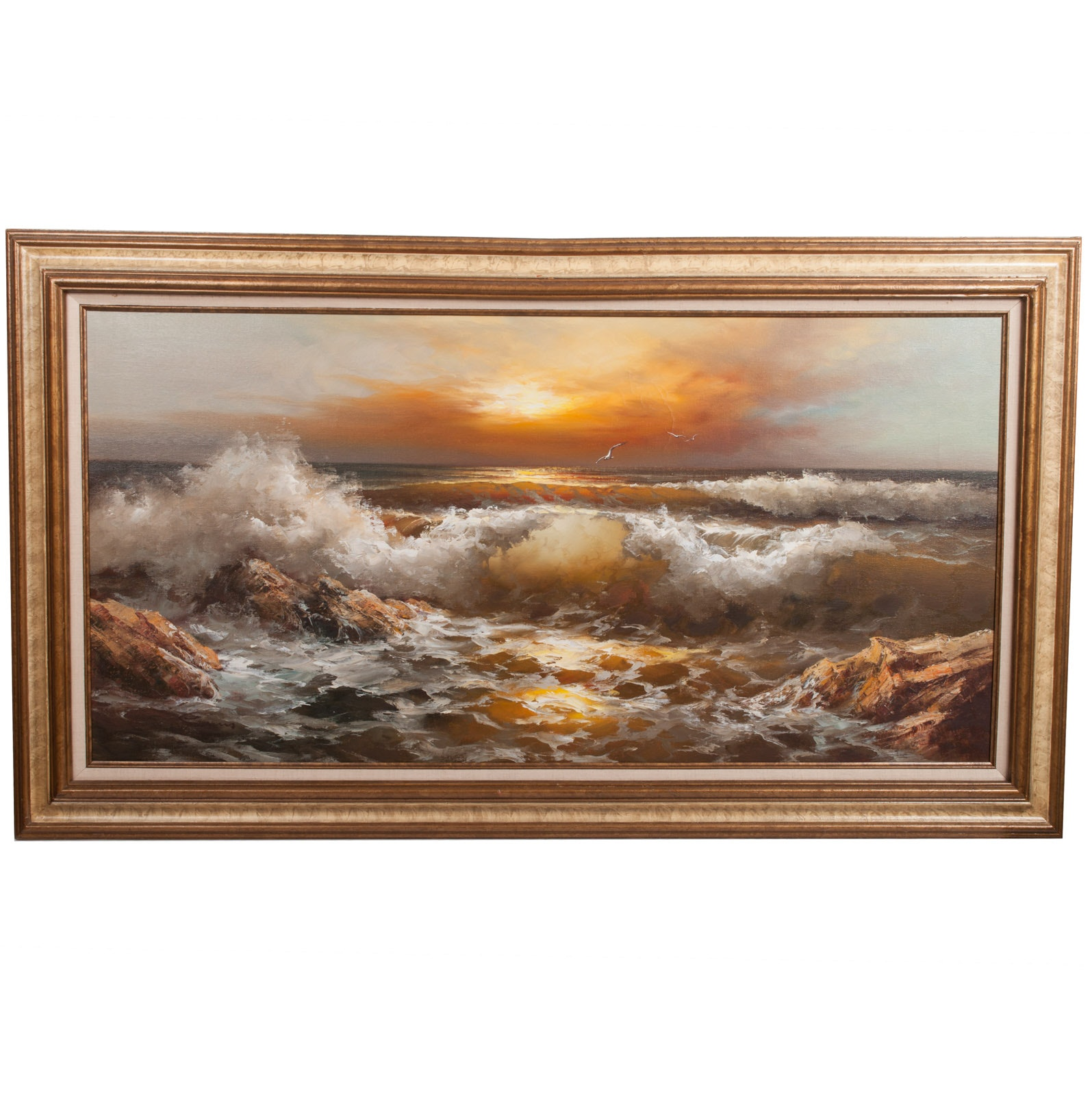 Substantial Original Oil Painting on Canvas of Seascape at Sunset