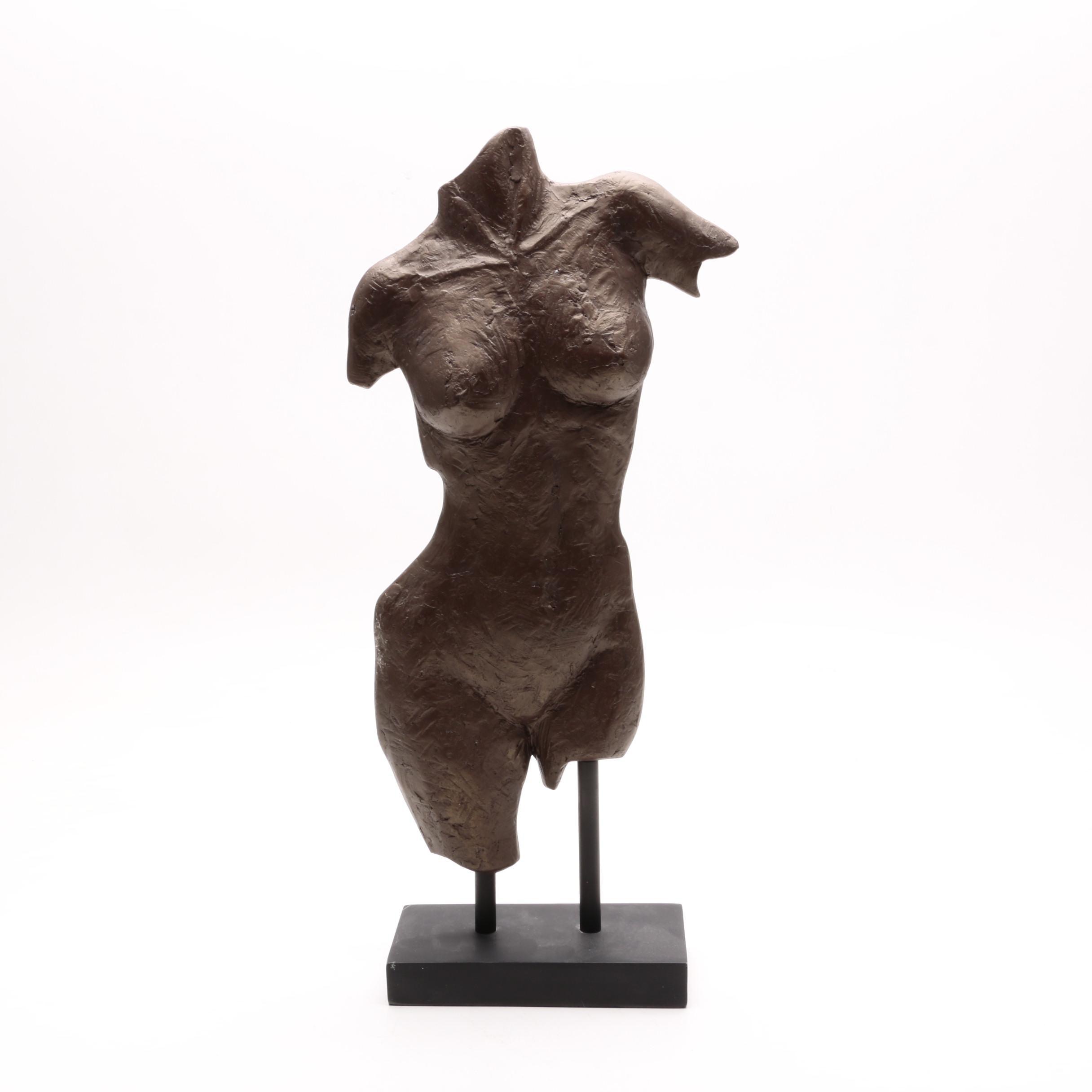 Cast Metal Sculpture of a Woman's Torso