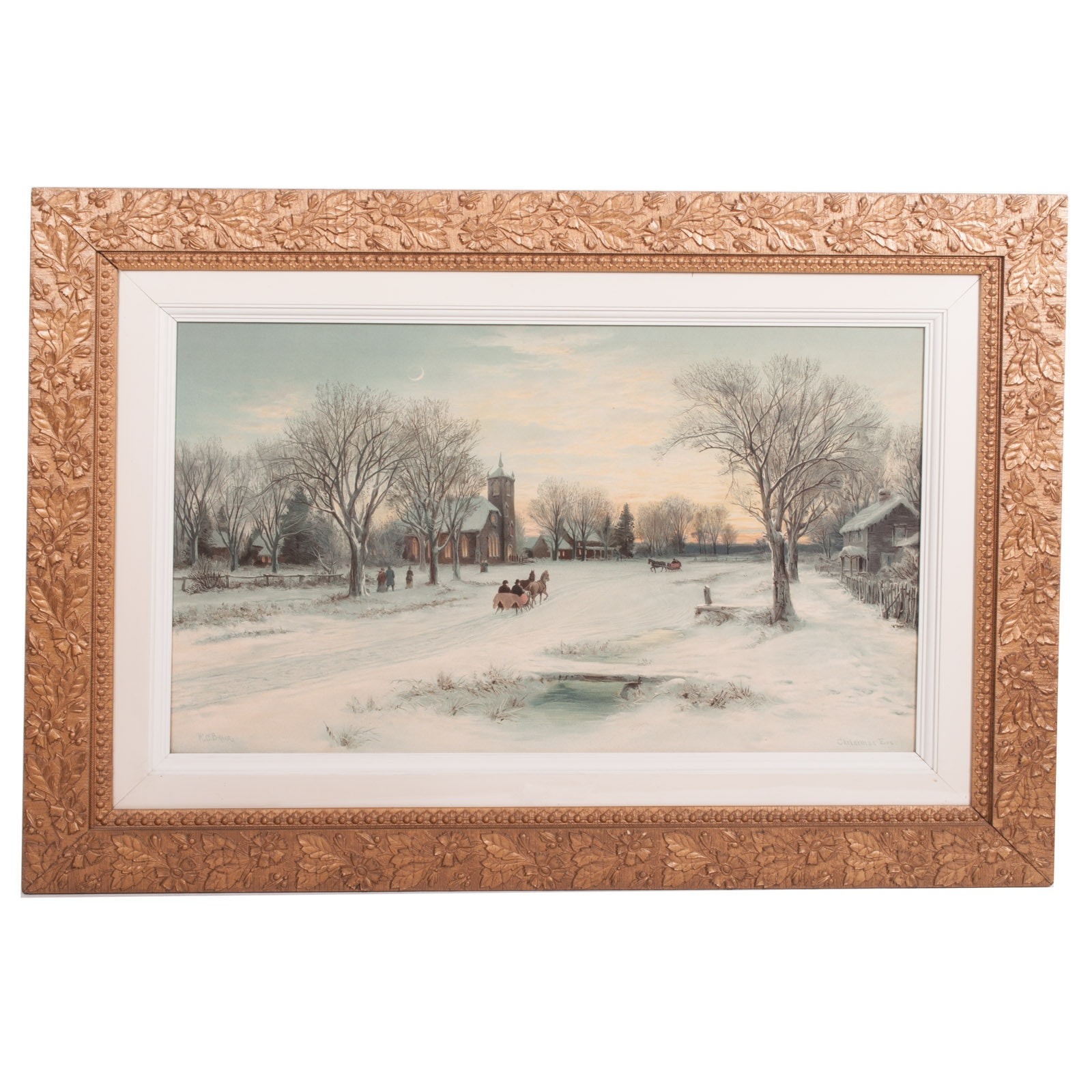 """W. C. Bauer Lithograph on Paper """"Christmas Eve"""""""