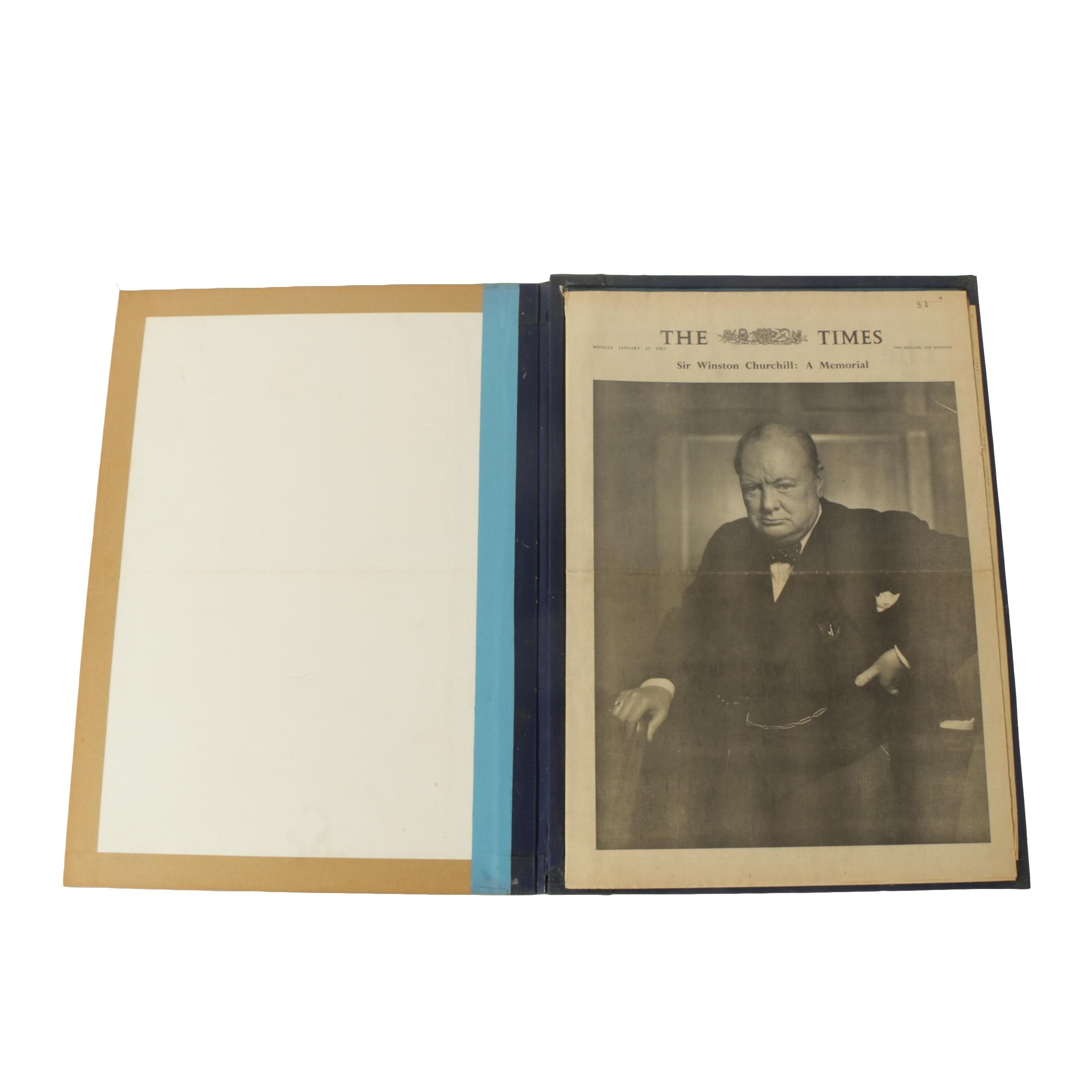"Vintage Bound Copy of ""The Times"" of London Commemorating The Life of Churchill"