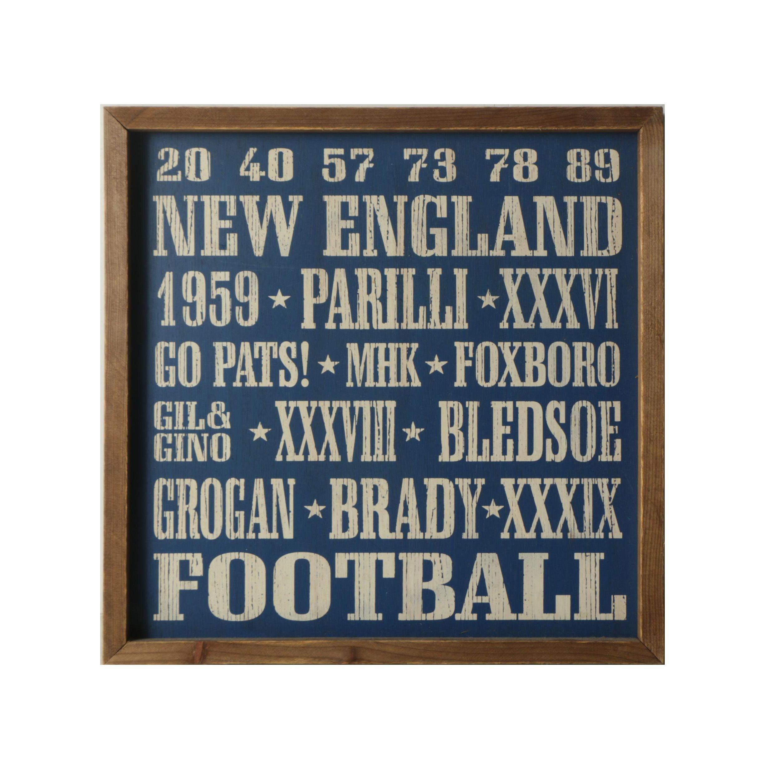 NFL New England Patriots Themed Woodblock Print on Wood