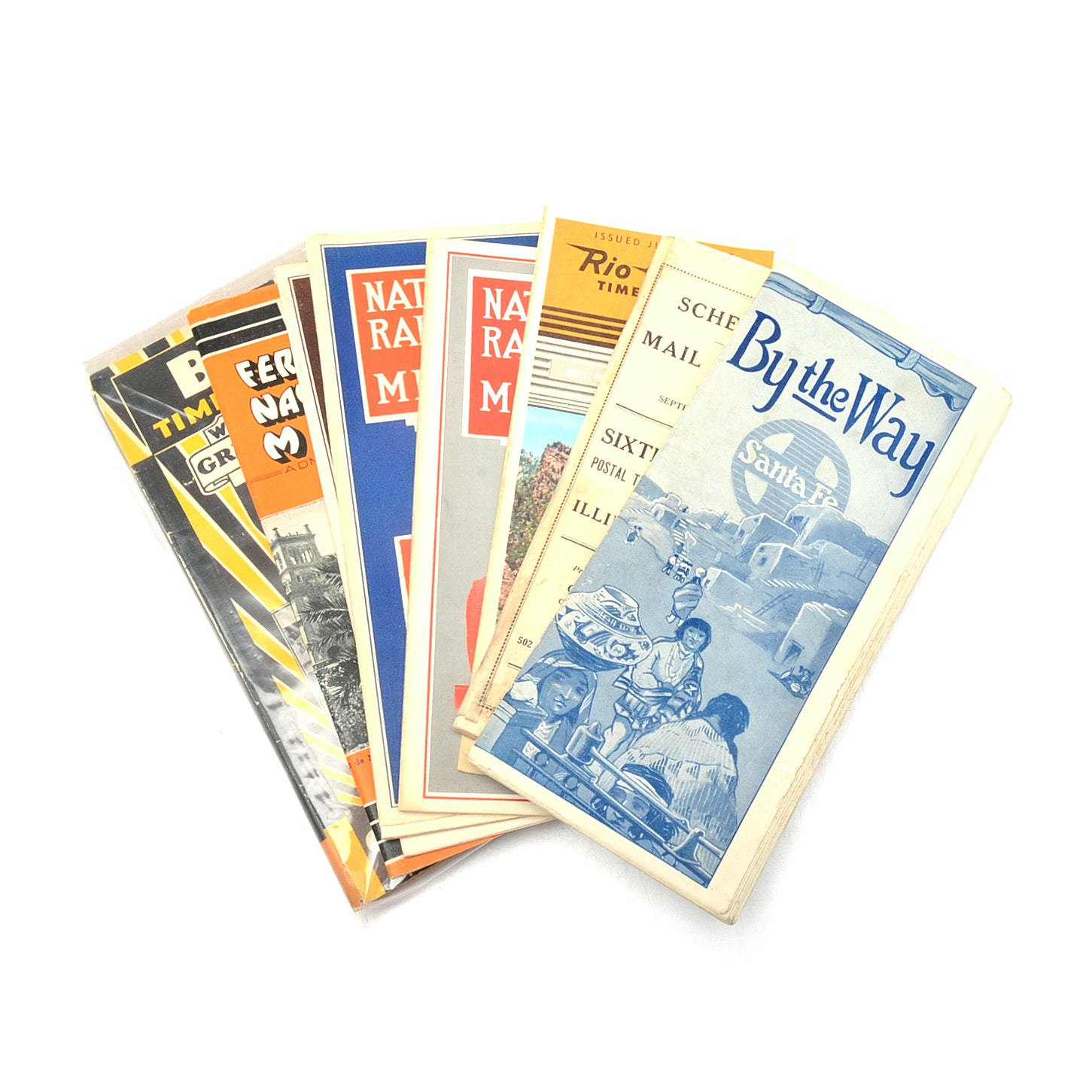 Vintage Railroad and Greyhound Bus Time Tables and Maps