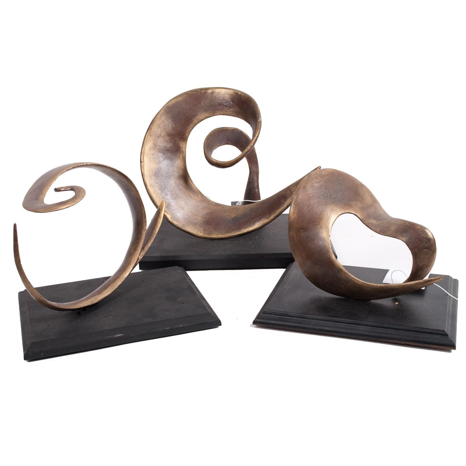 Virginia K. Hess Cold Bronze Maquette Abstract Sculptures