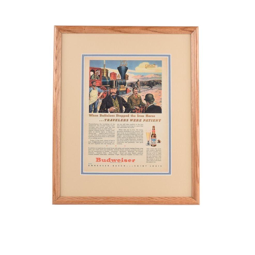 Framed Budweiser 1944 Patient Traveling/War Support Themed Advertisement