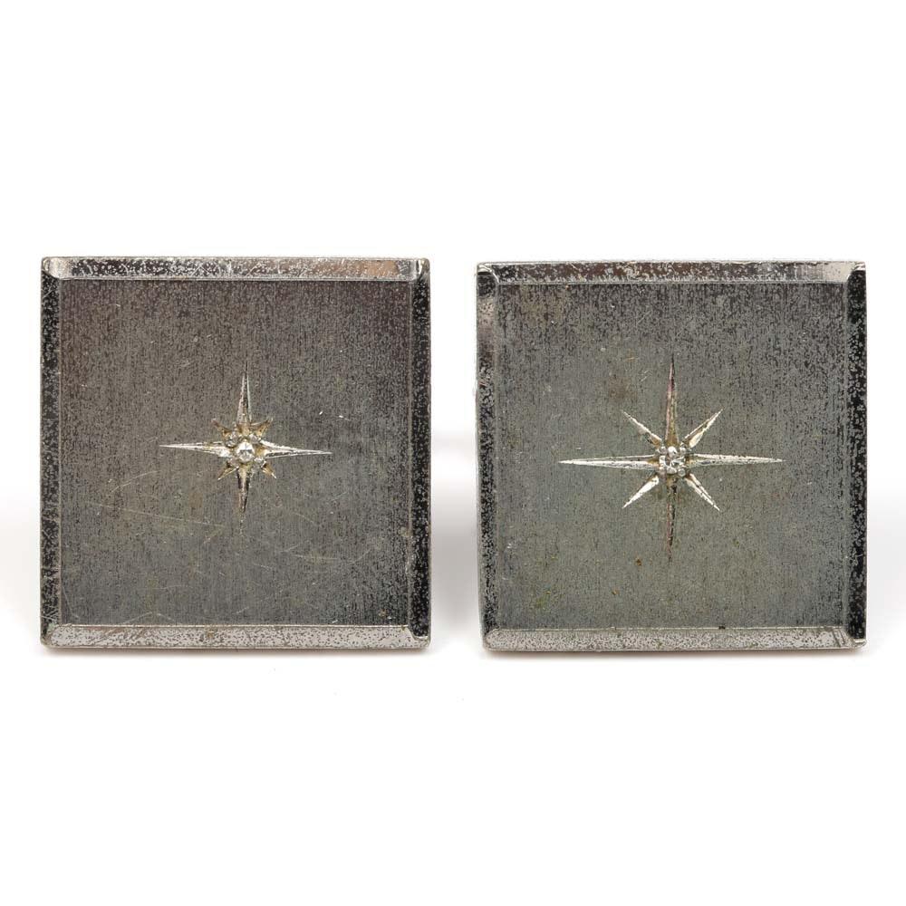 Sterling Silver Satin Finish Cufflinks with Diamonds