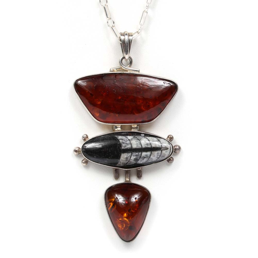 Sterling Silver Black and White Inlay Stone Pendant Necklace with Amber