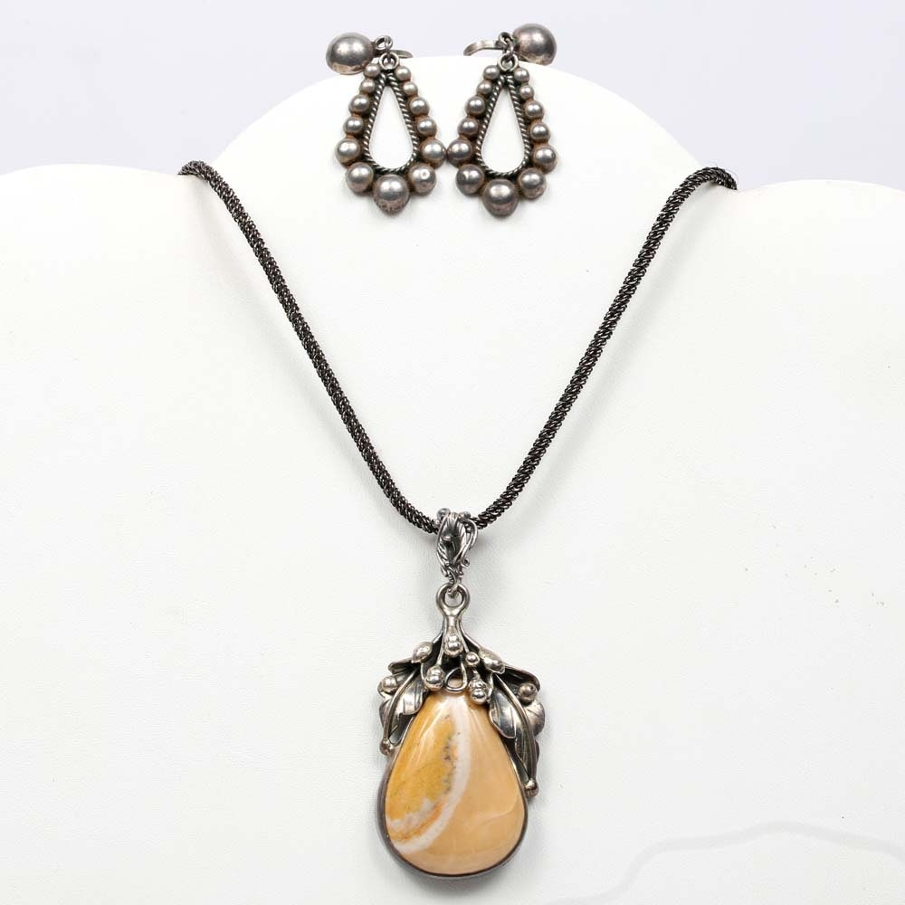 Sterling Silver Clip-On Beaded Drop Earrings and Agate Pendant on Chain