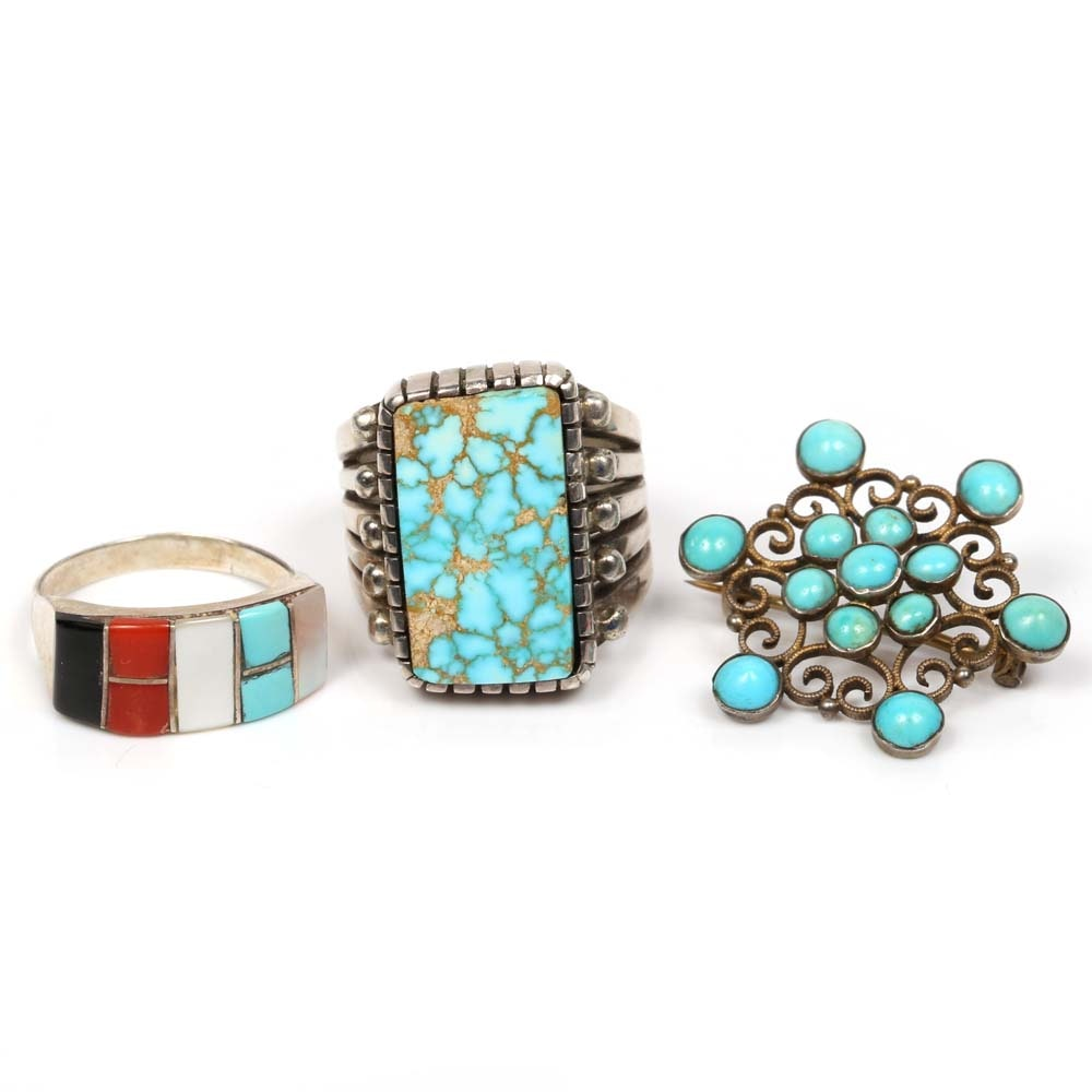 Southwest Style Sterling Silver Turquoise Ring, Black Onyx Ring and Inlay Brooch