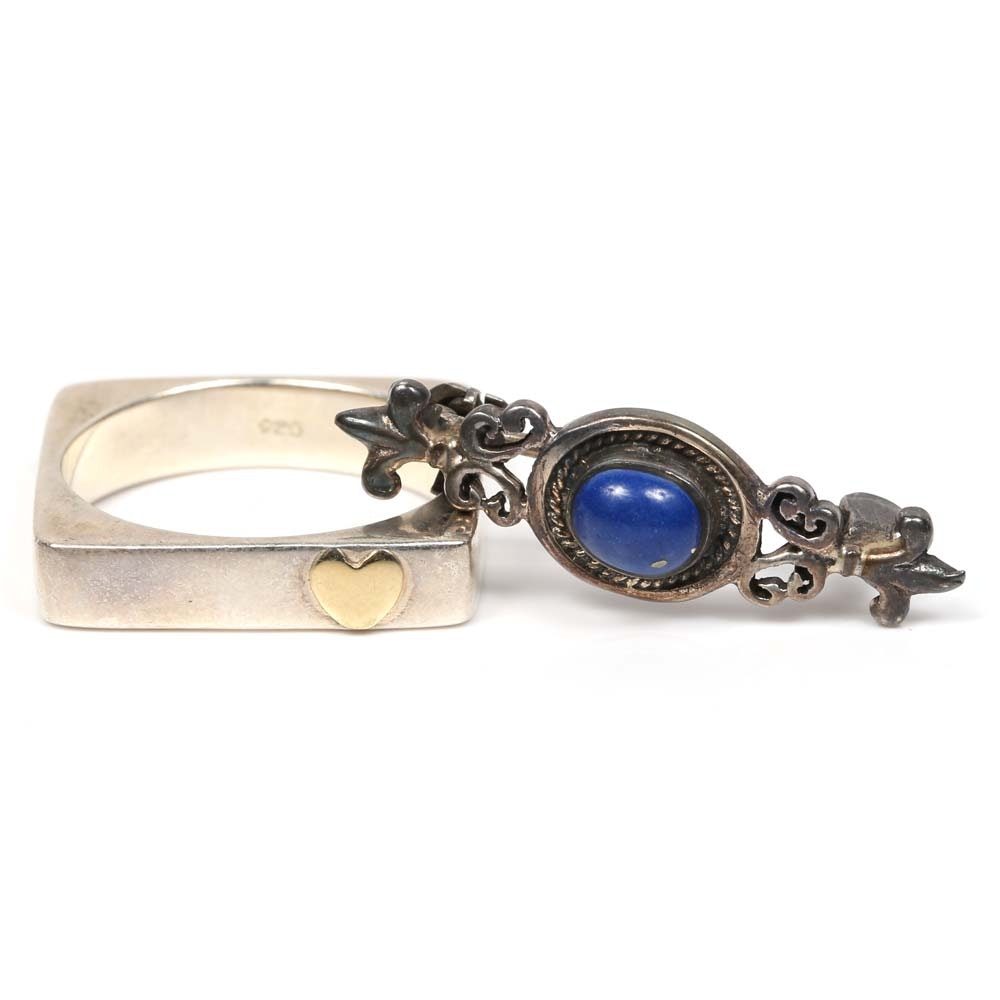 """Sterling Silver """"Love"""" Ring with 14K Gold Heart and Lapis Lazuli Brooch"""