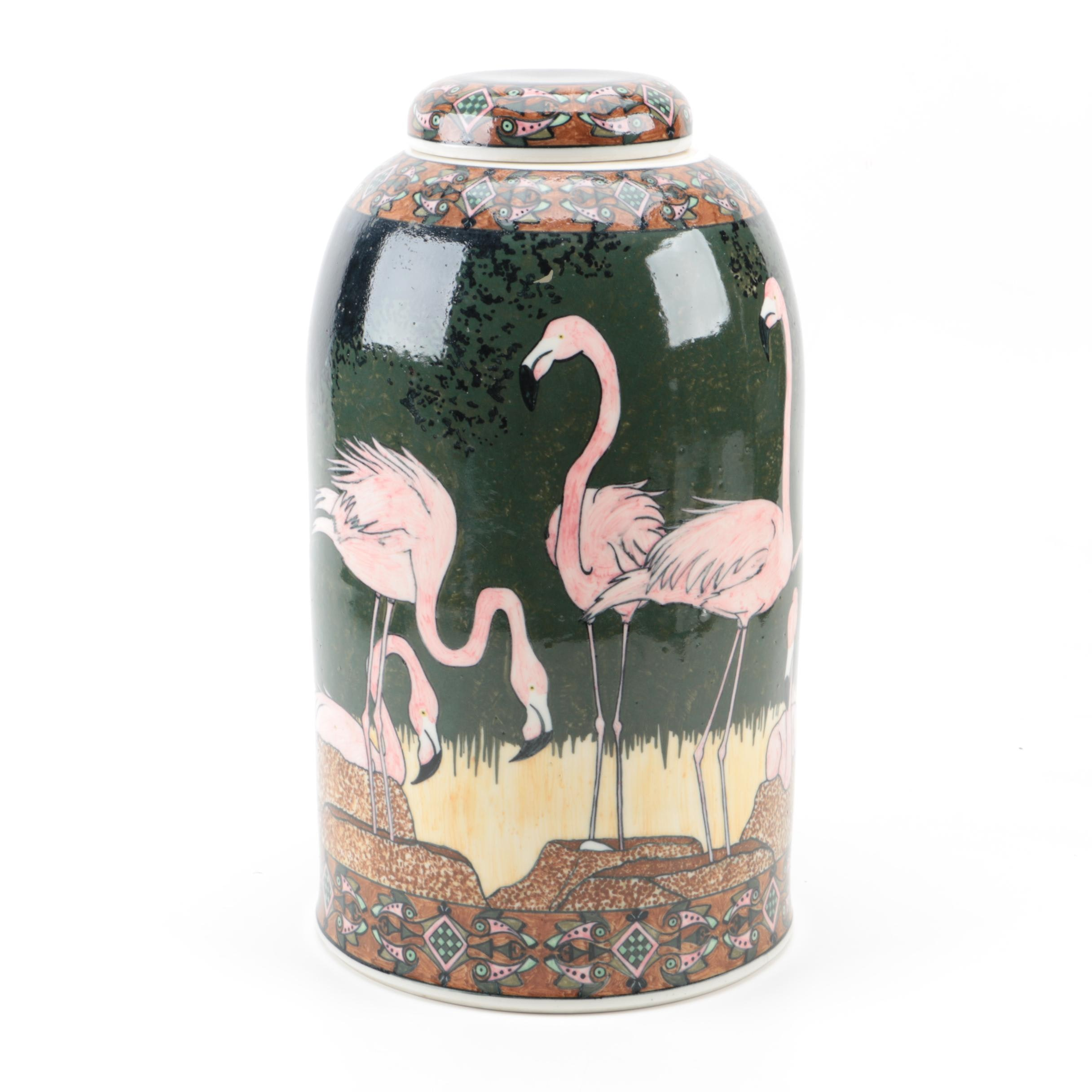 "Large Jean Newcomb ""Nesting Flamingoes"" Hand-Painted Jar"