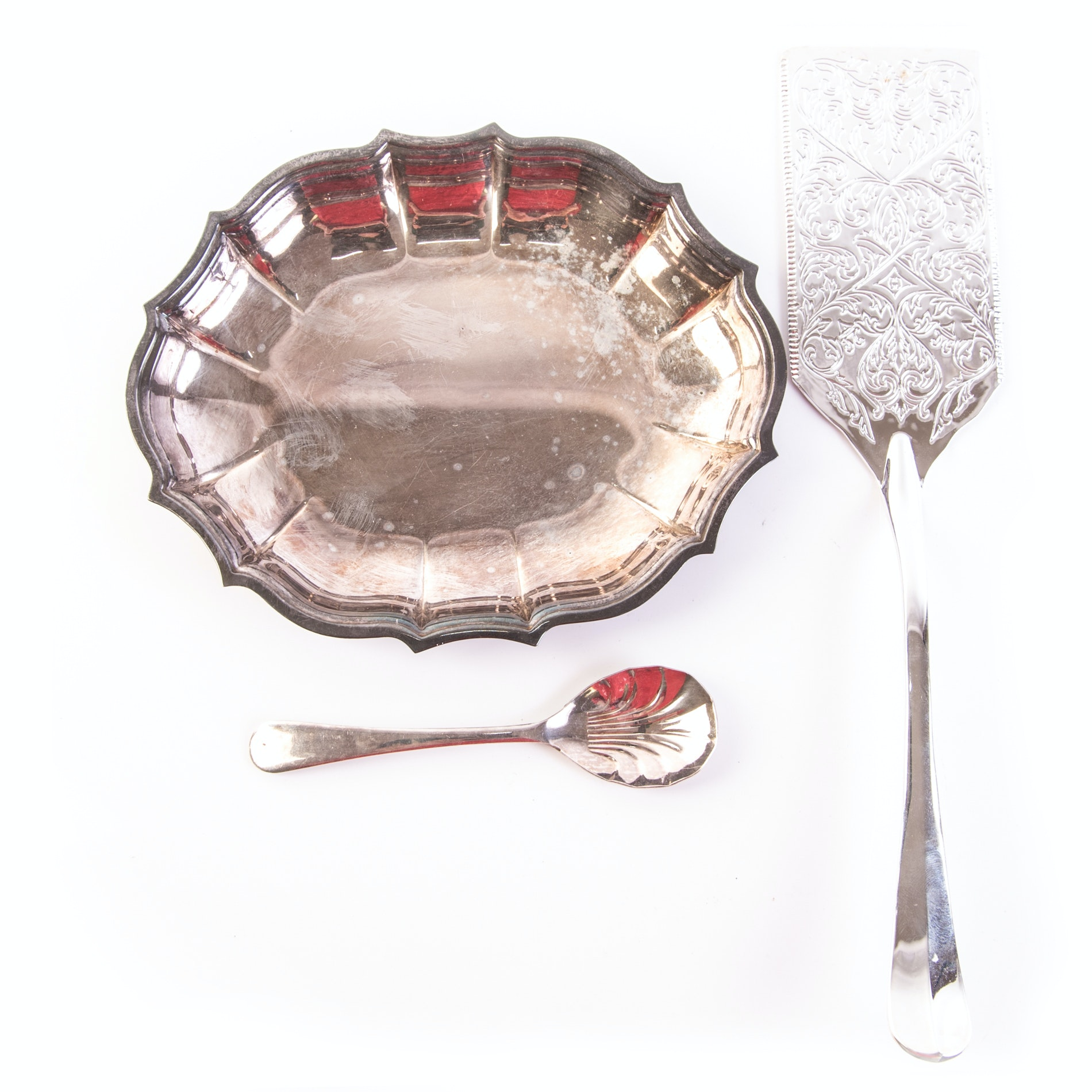 """International Silver Co. """"Chippendale"""" Bowl and Other Plated Silver Tableware"""