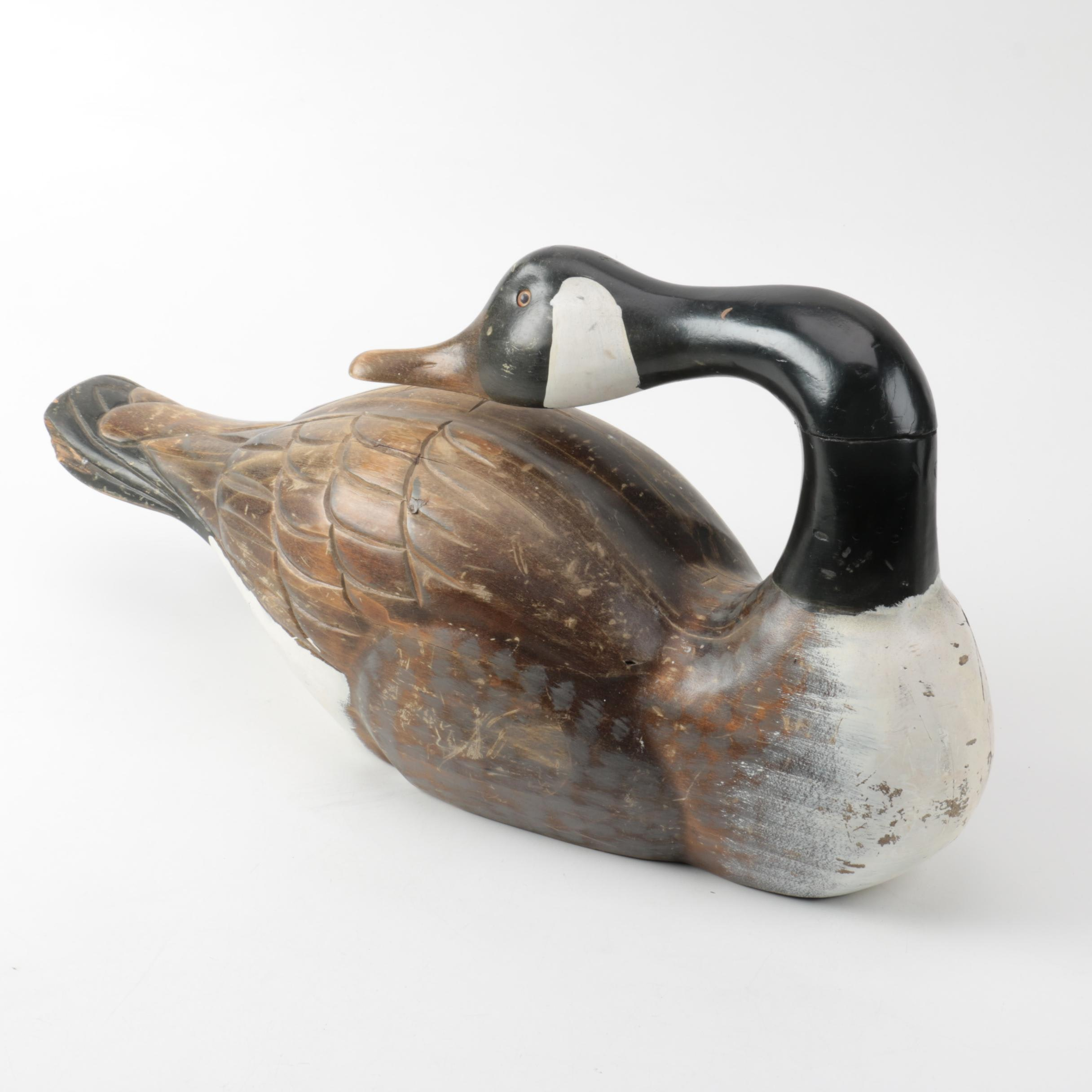 Wooden Canadian Goose Decoy Figurine
