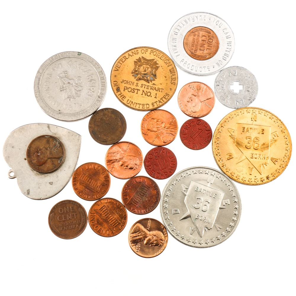 Assortment of Lincoln Cents, Tokens and Medals