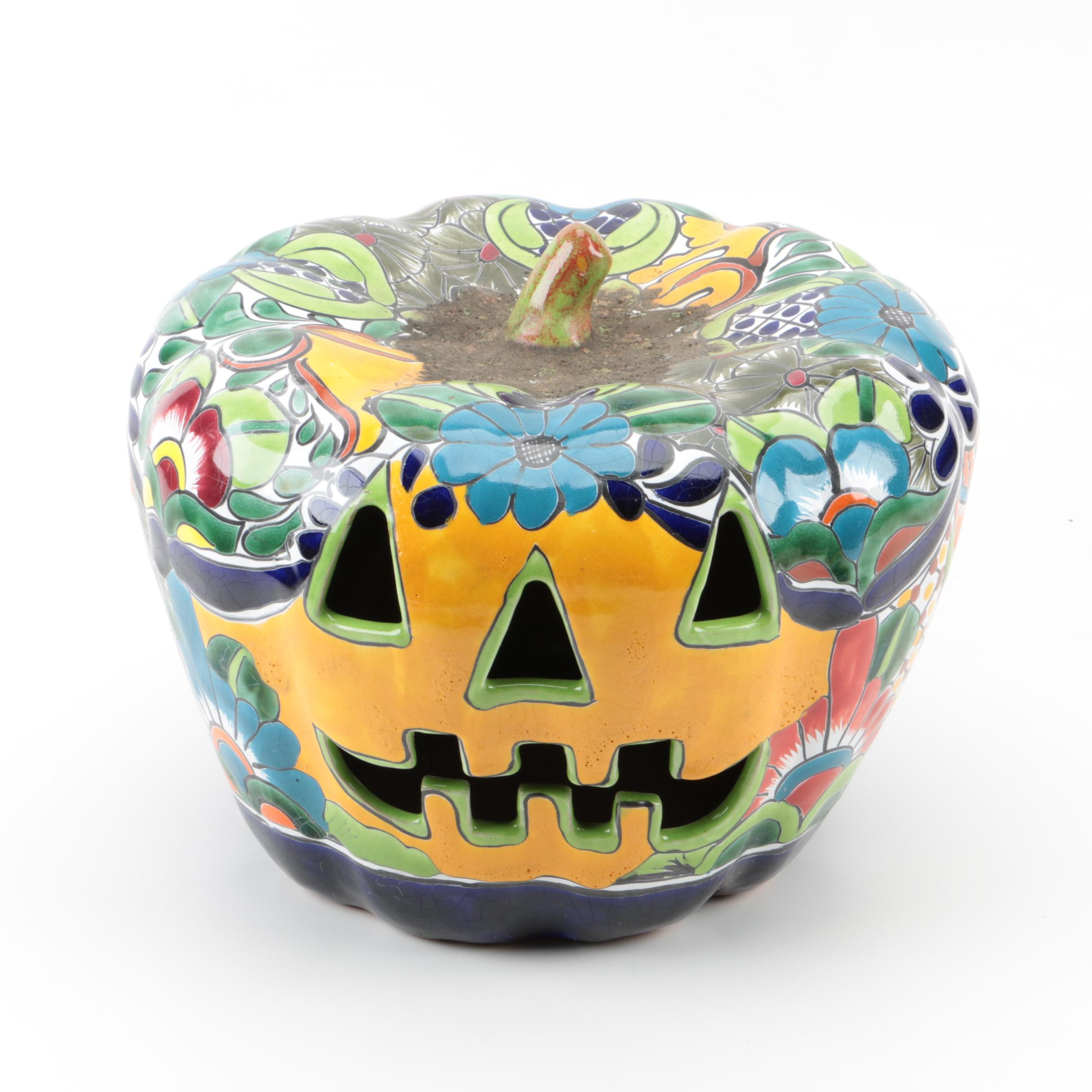 Hand Painted Mexican Earthenware Pumpkin