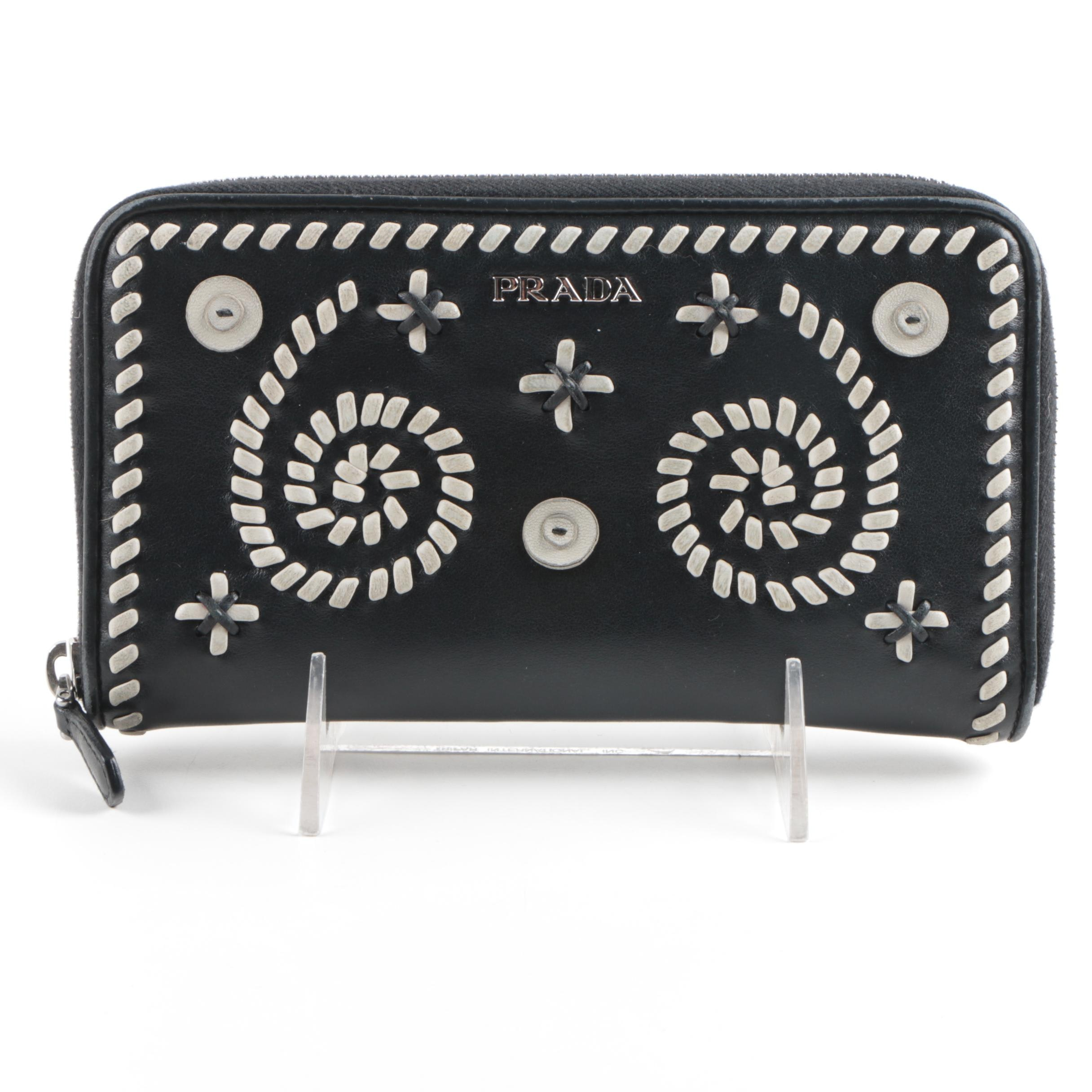 Prada Black and White Leather Wallet
