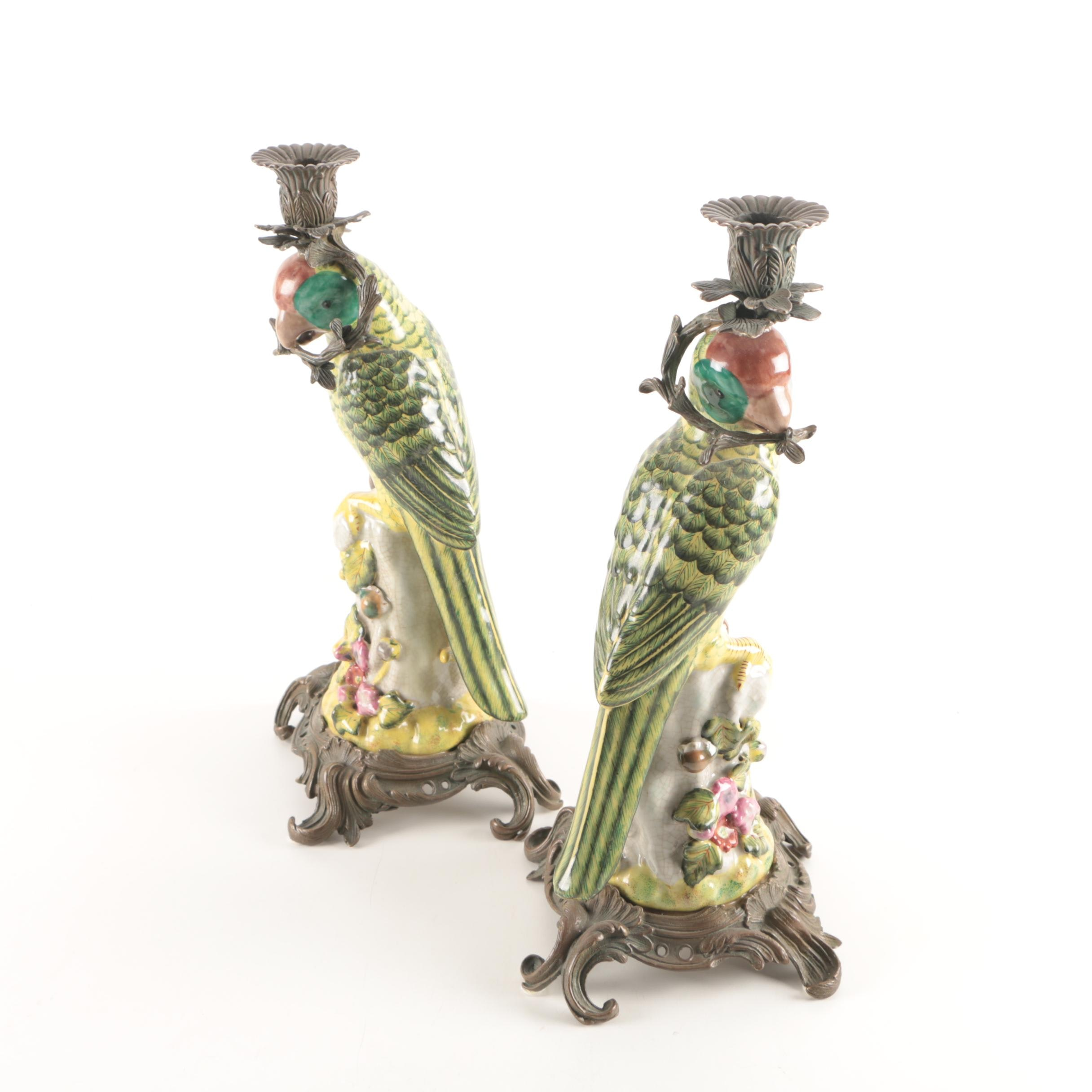 Pair of Ceramic and Brass Tone Chinese Candlestick Holders