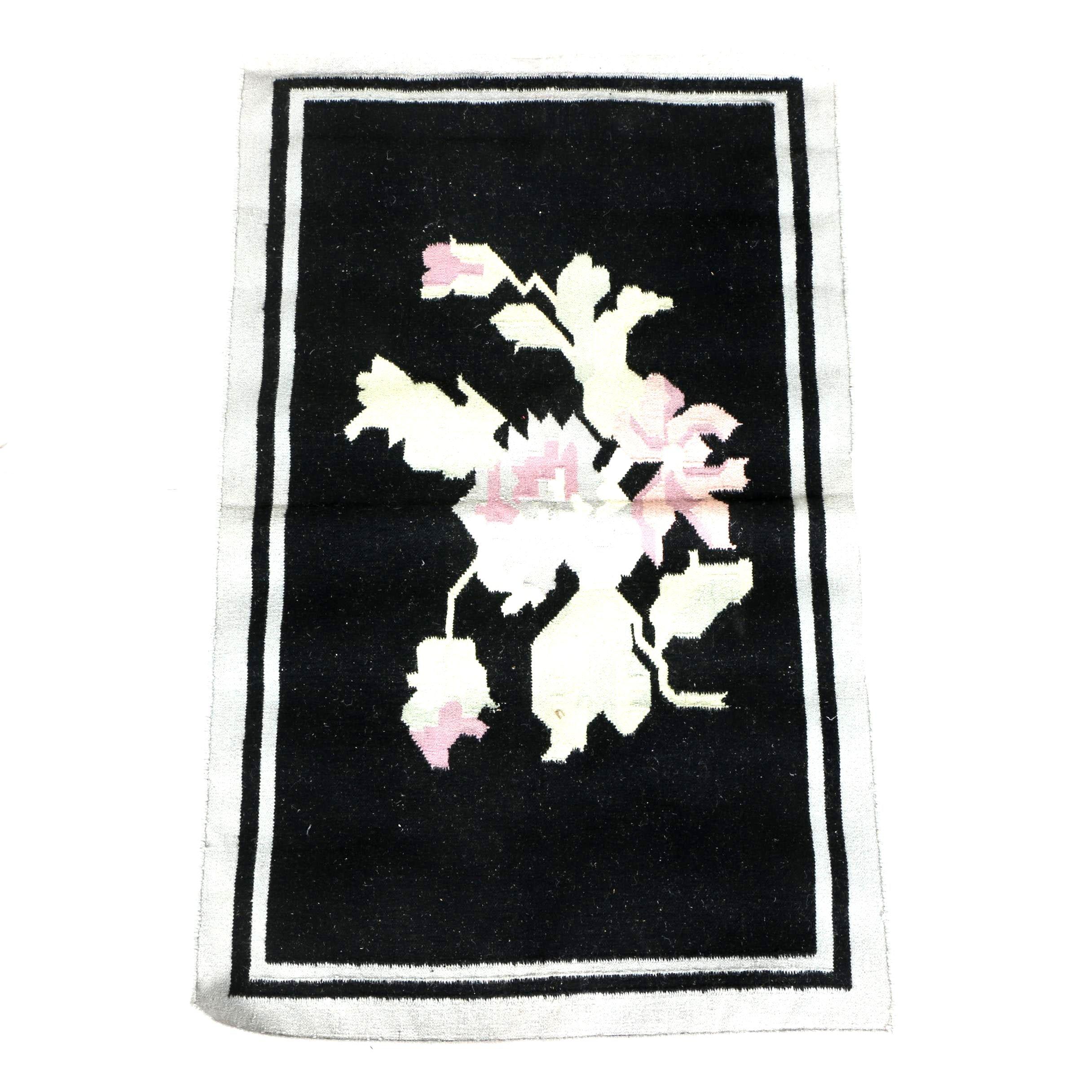 Flatweave Floral Wool Area Rug