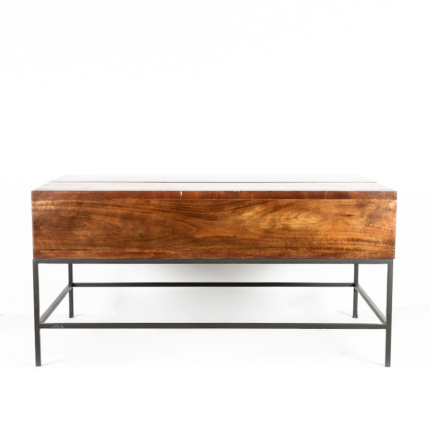 b3cc83c8d3e81 Lift Top Teak and Metal Coffee Table   EBTH