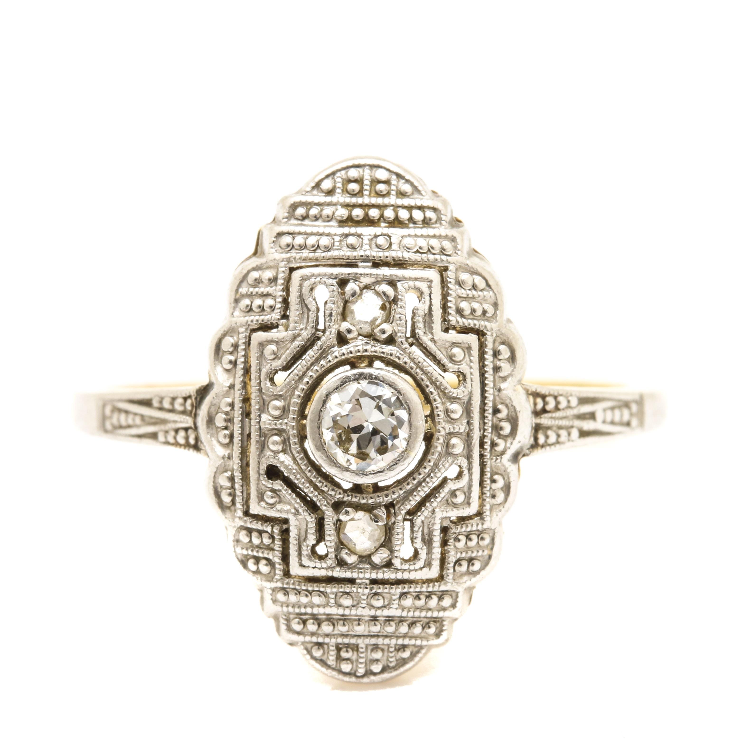 18K Yellow Gold and Platinum Diamond Ring