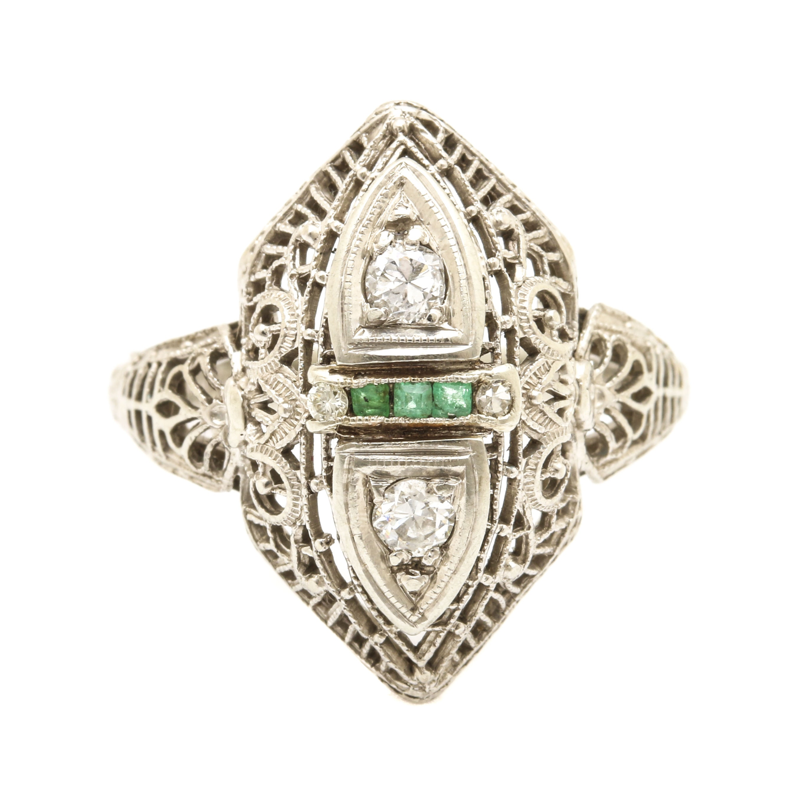 18K White Gold and Platinum Emerald and Diamond Ring