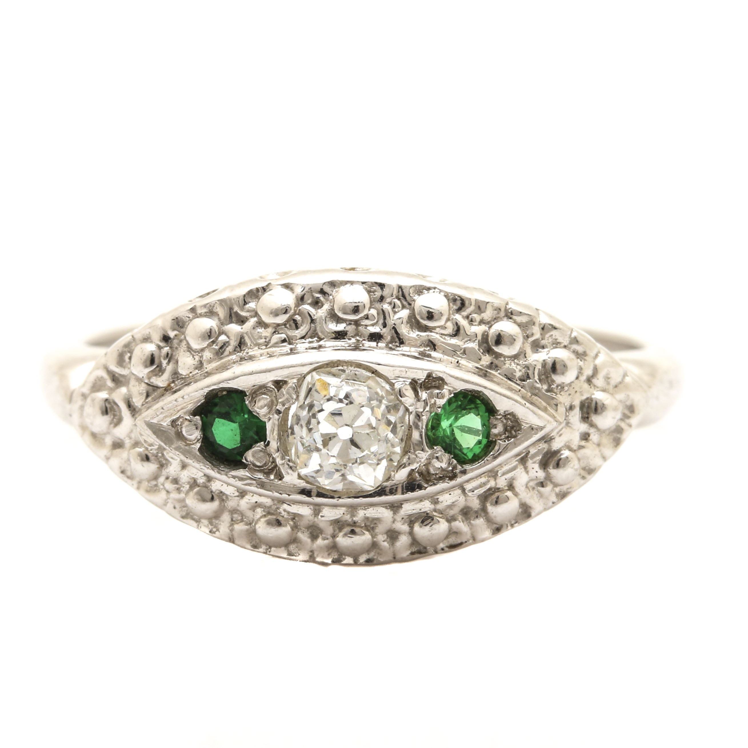 14K White Gold Diamond and Green Glass Ring