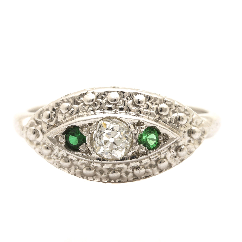 Circa 1940s 14K White Gold Diamond and Green Glass Navette Ring