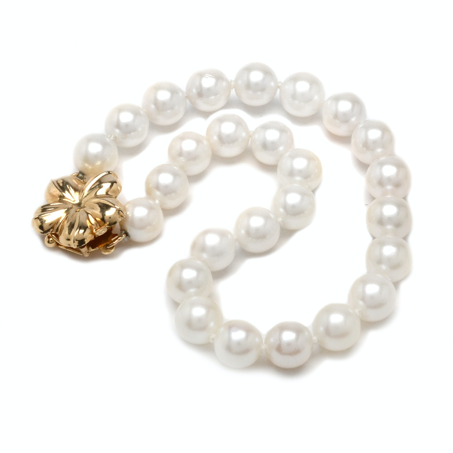 14K Yellow Gold and Cultured Pearl Bracelet