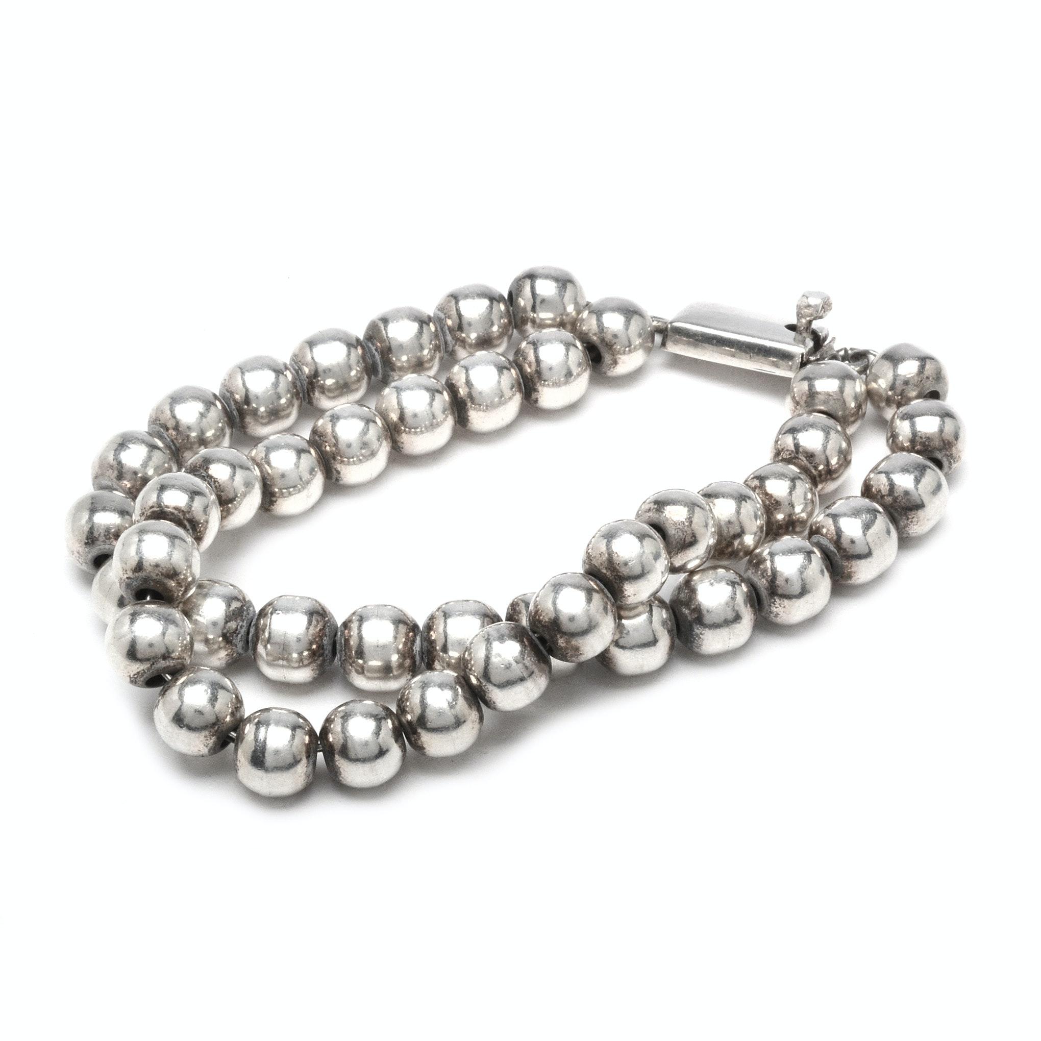 Taxco Sterling Silver Beaded Bracelet