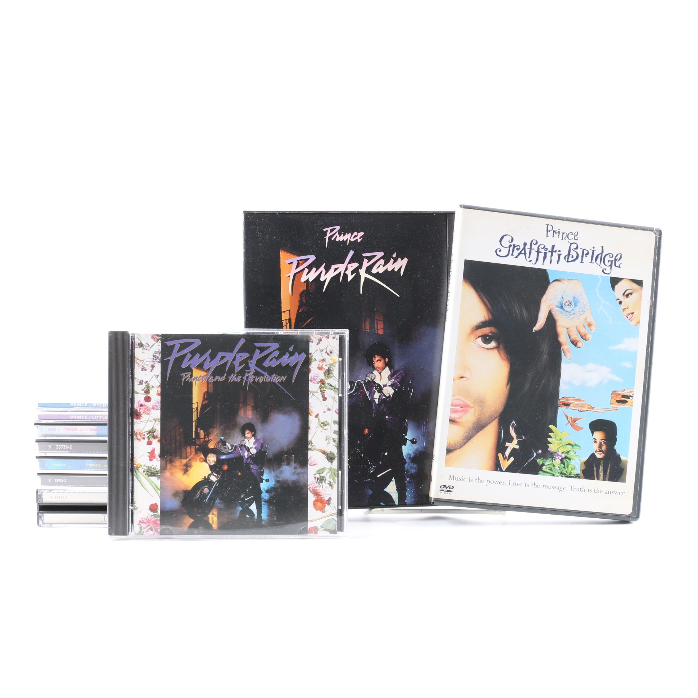 "Prince CDs and DVDs Including ""Purple Rain"" and ""Graffiti Bridge"""