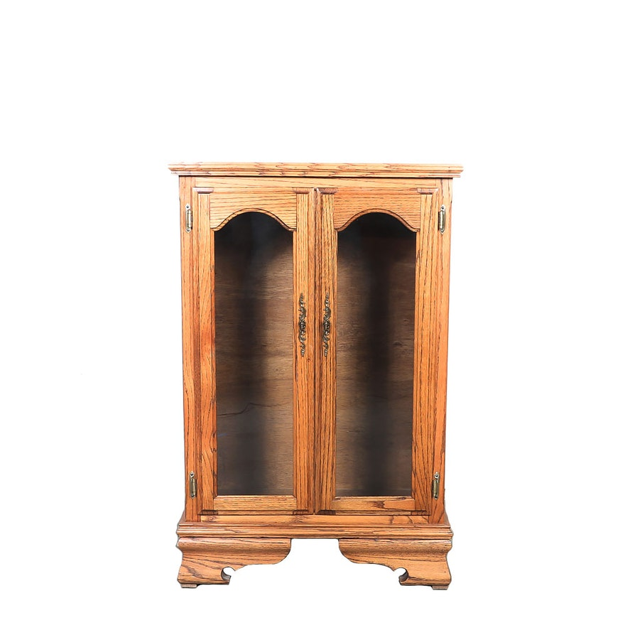 Oak Cabinet With Glass Doors