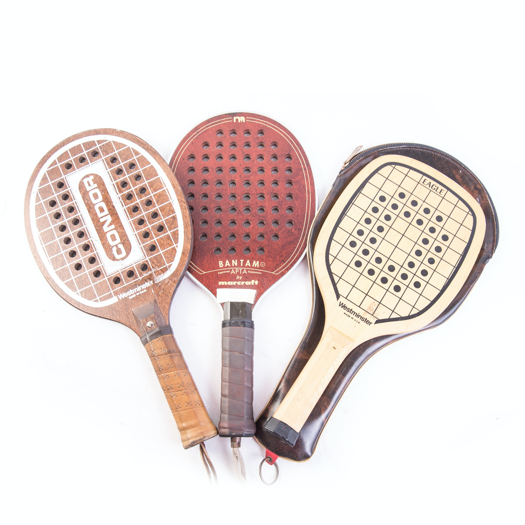Vintage Wood Paddleball Racquets