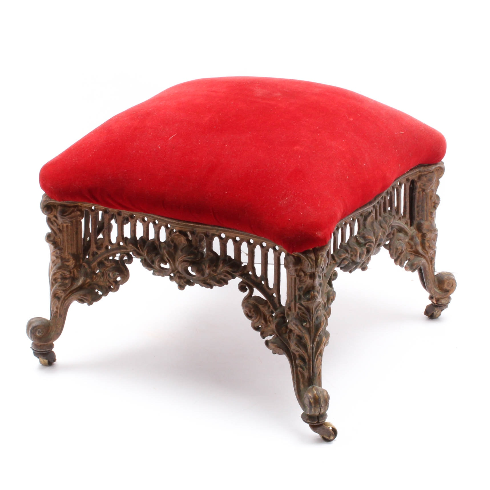 Antique Cast Iron Velvet Upholstered Footstool