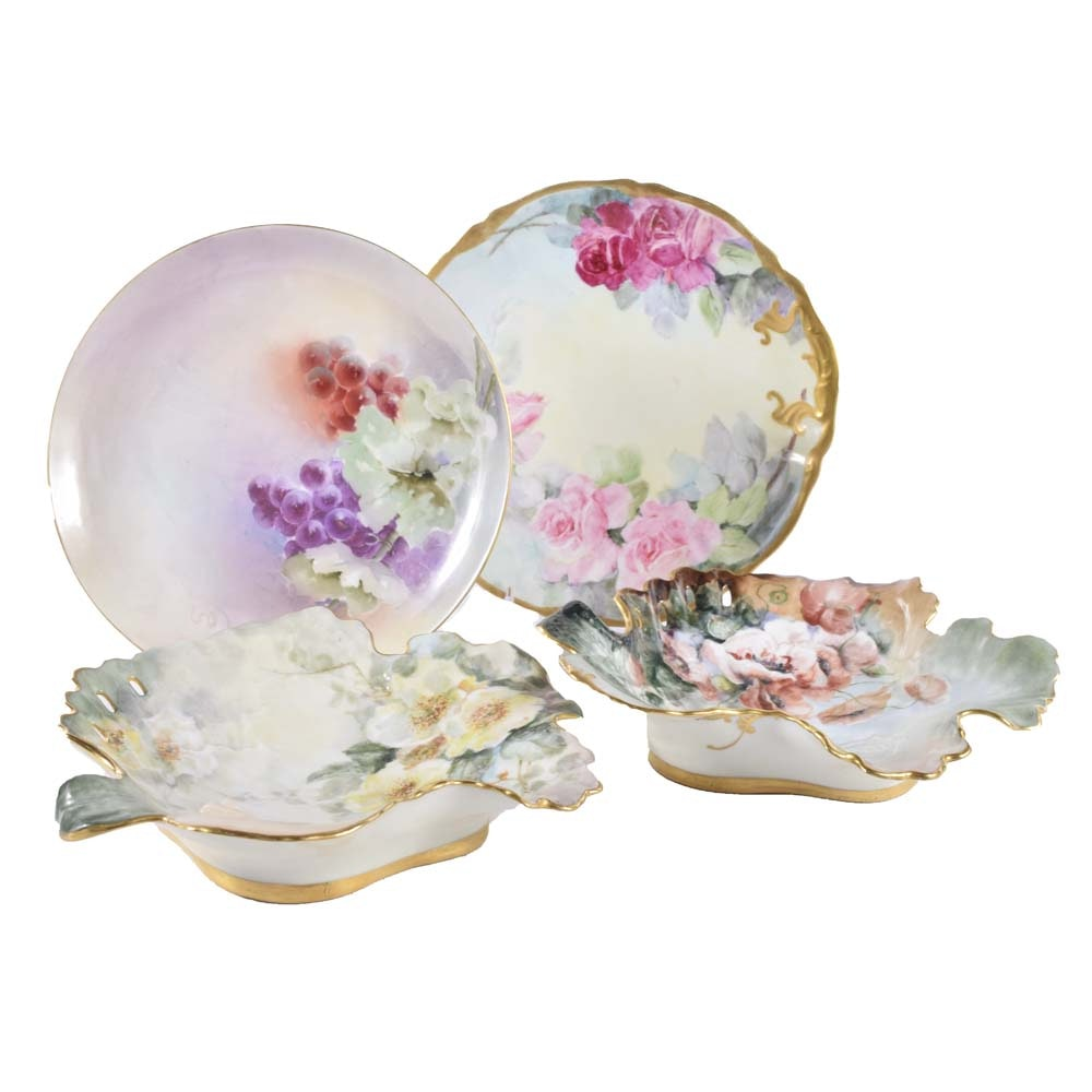 Antique and Vintage Decorative Porcelain Plates and Trays including Limoges