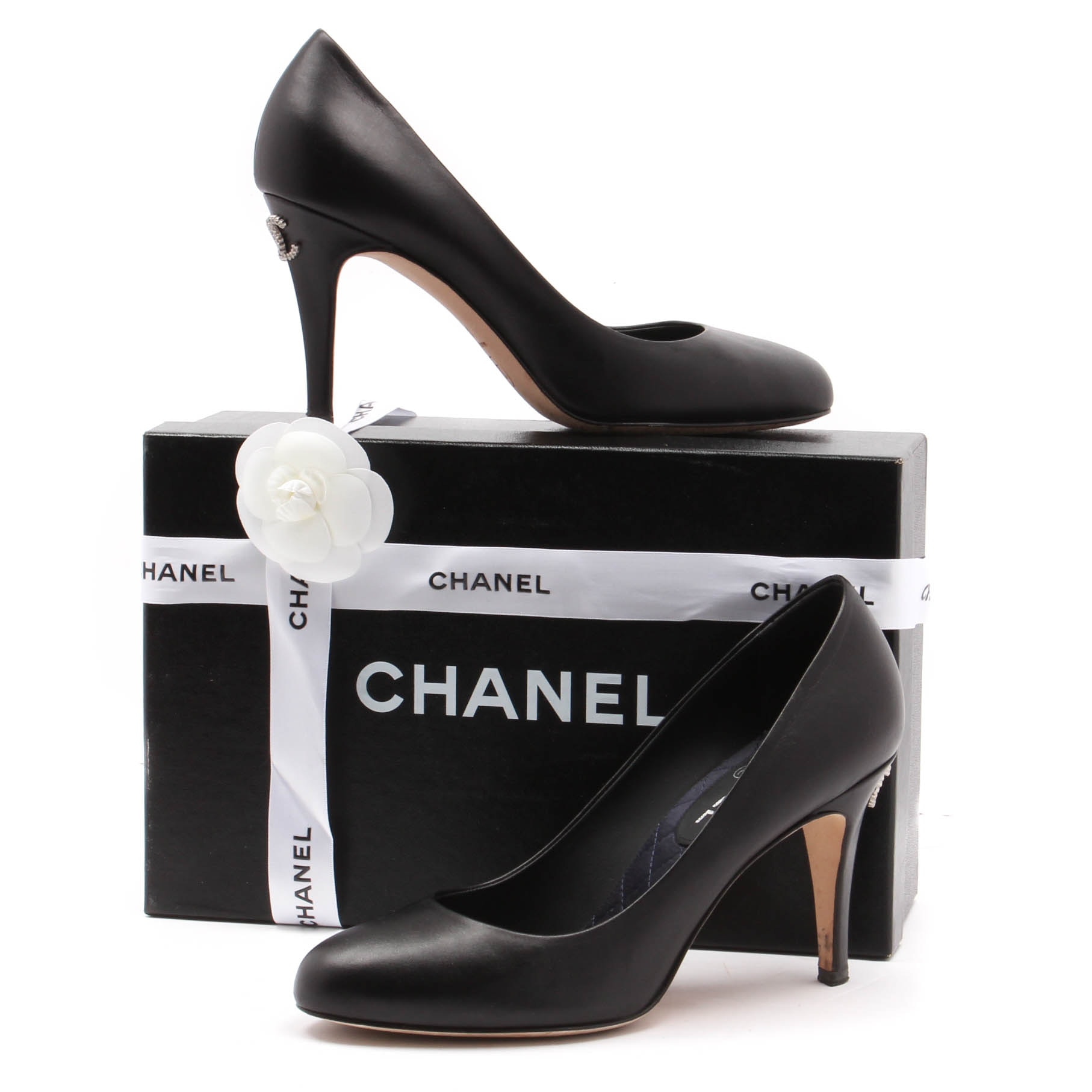 Chanel Black Leather Pumps with Rhinestone Logo Heel