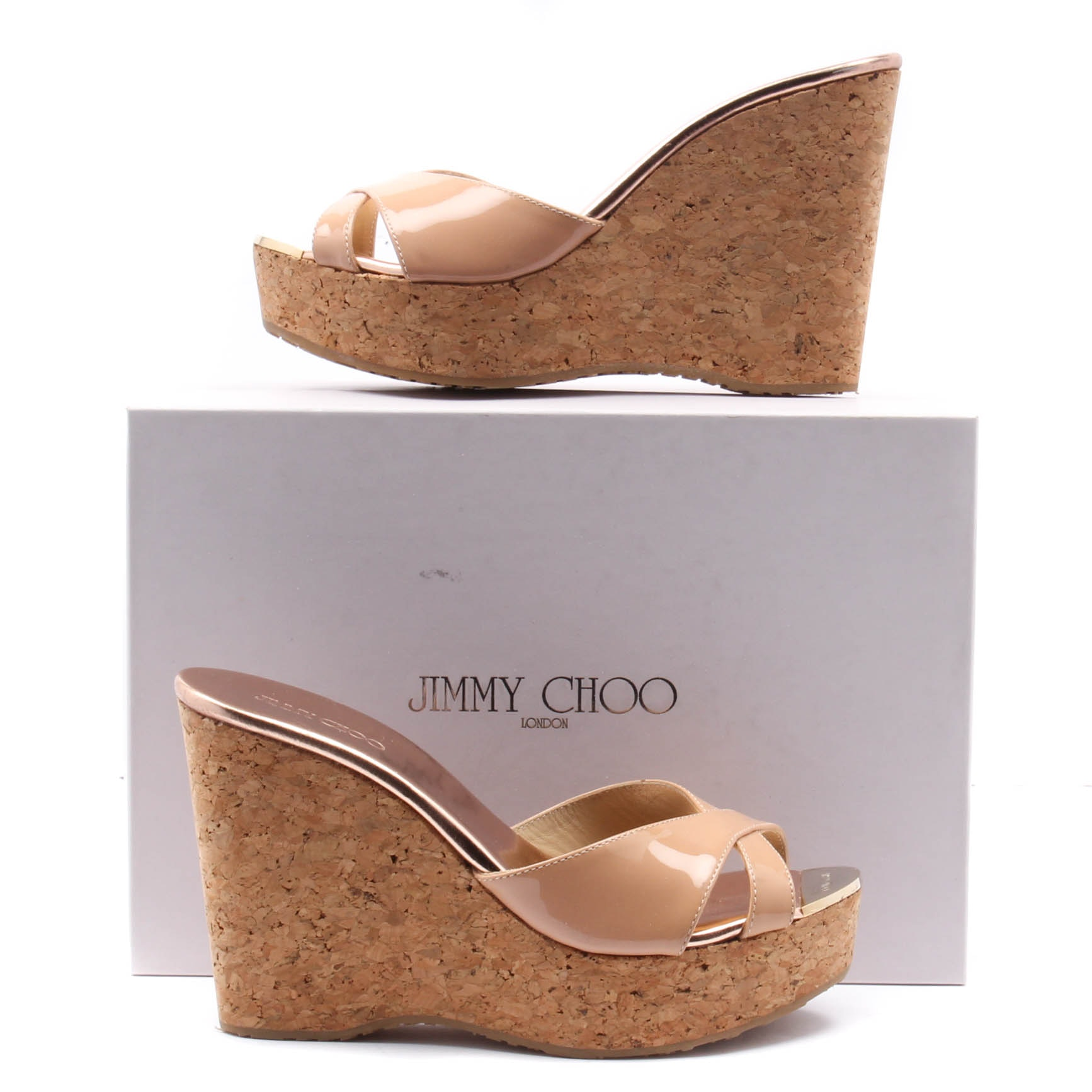 Jimmy Choo Cork Wedge Heel Blush Patent Leather Sandals