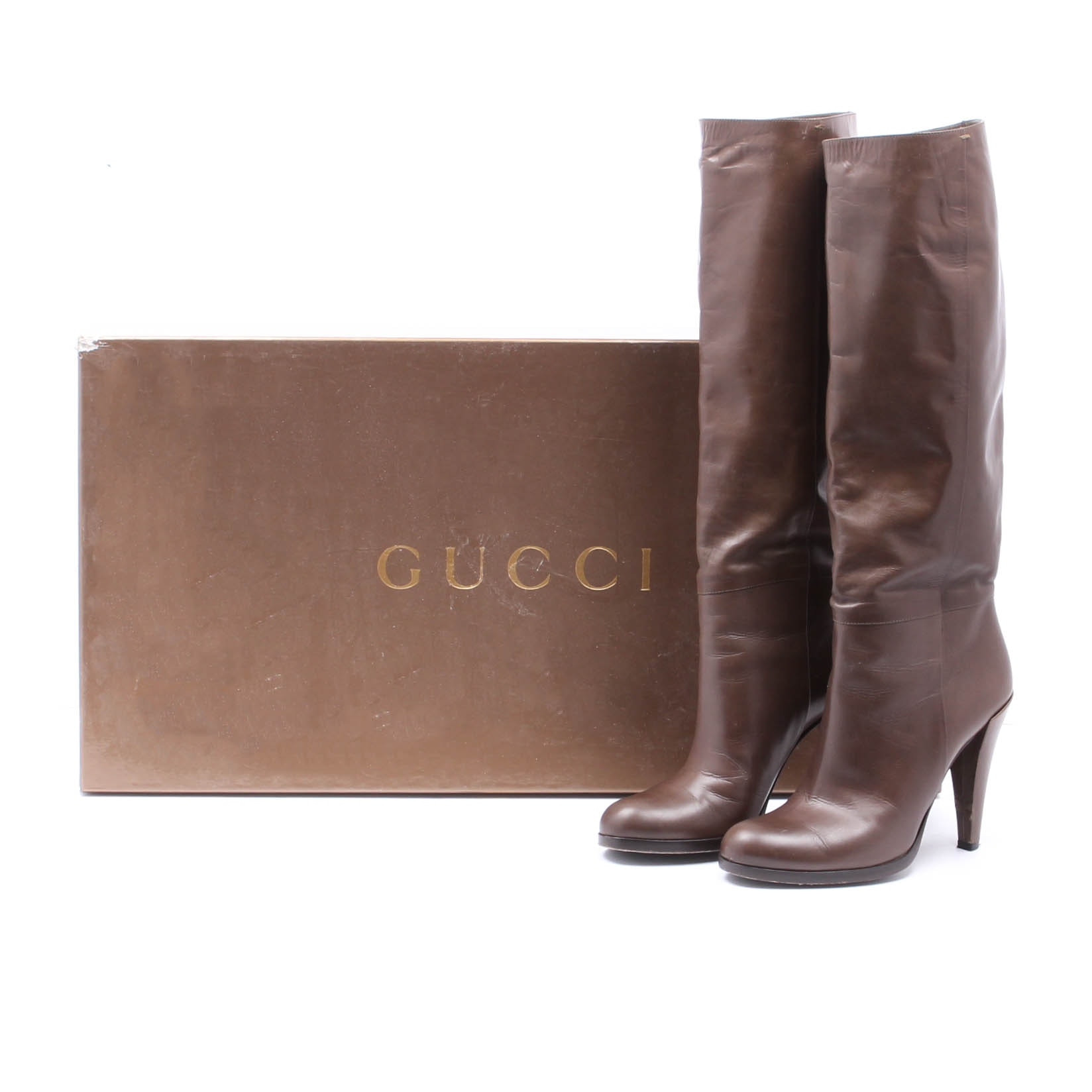 Gucci Elizabeth Dapple Brown Leather Boots