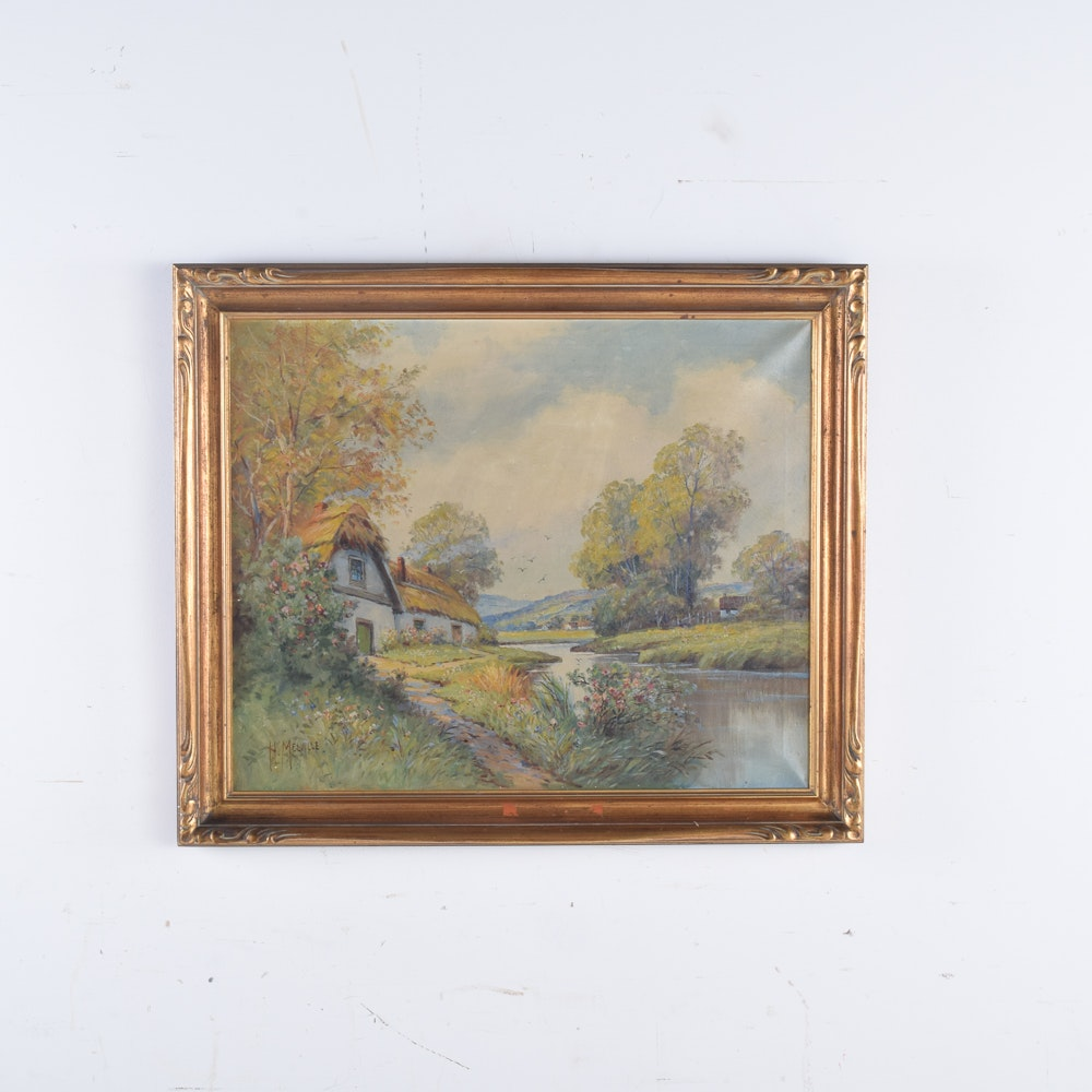 H. Melville Oil Painting on Canvas of Countryside Cottage