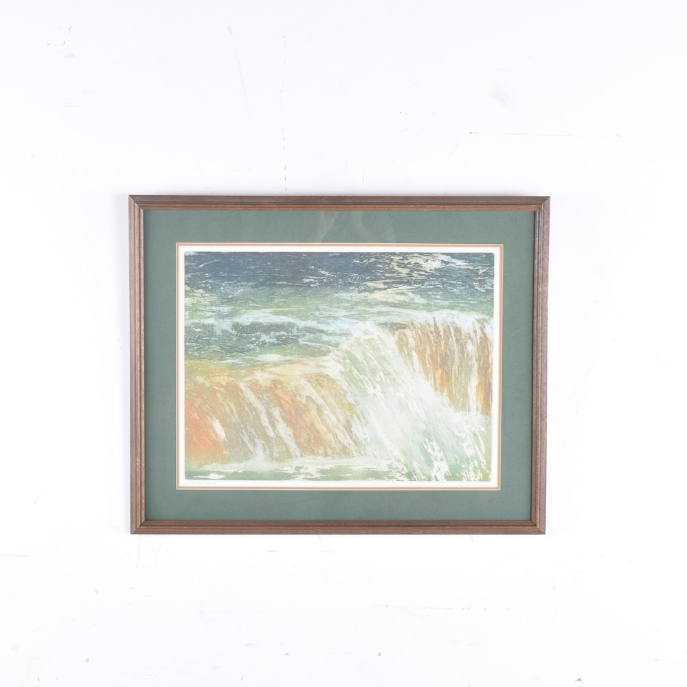 "Shirley Roman Limited Edition Etching on Paper ""Number Six Rapids"""