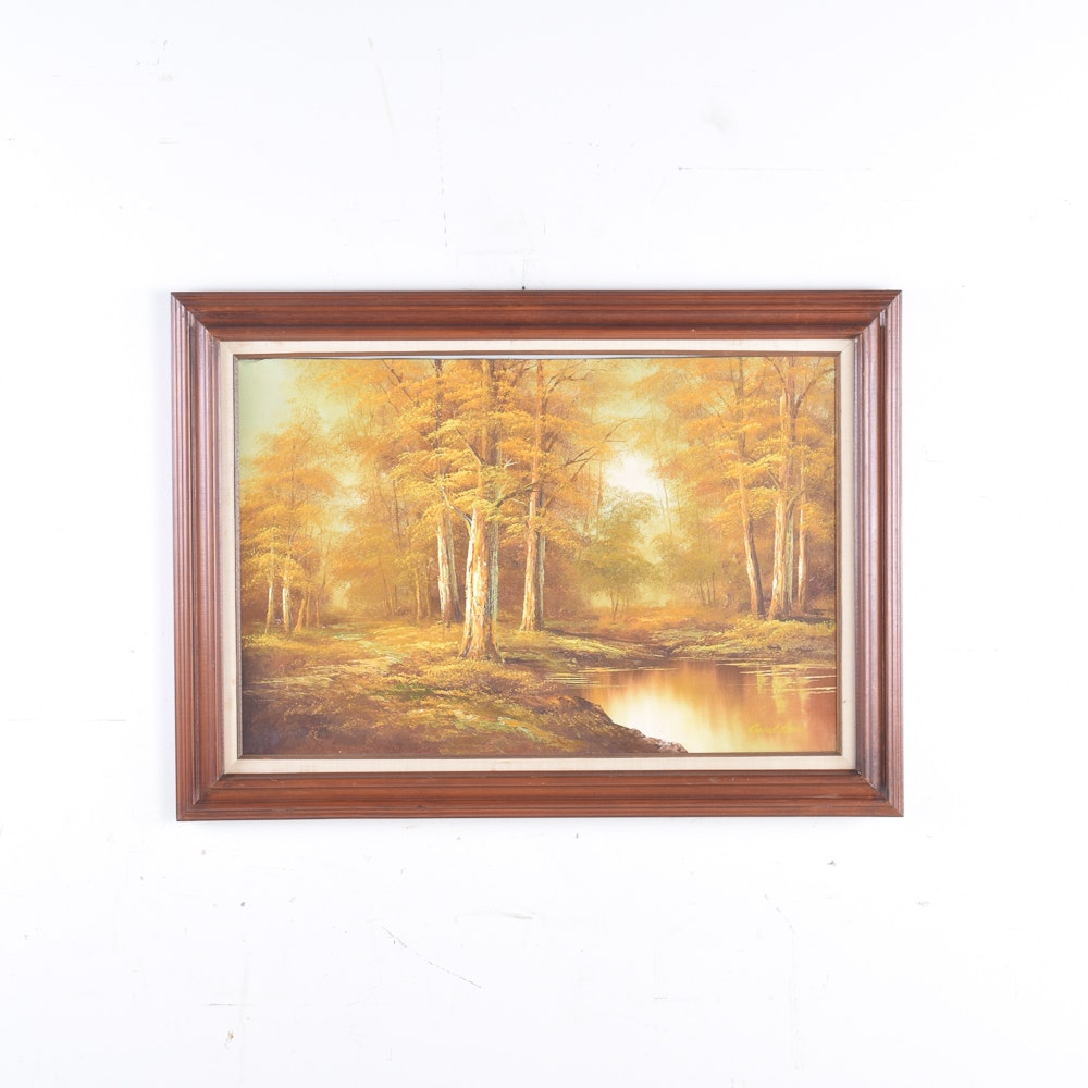 Signed Oil Painting on Canvas of Autumnal Forest Landscape