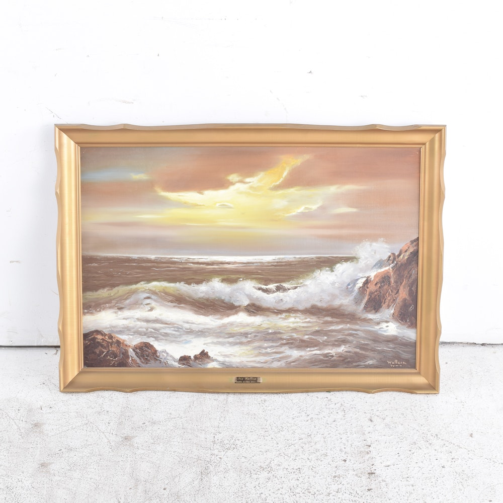 John Wallern Oil Painting on Canvas of Waves Breaking Over Rocky Shoreline