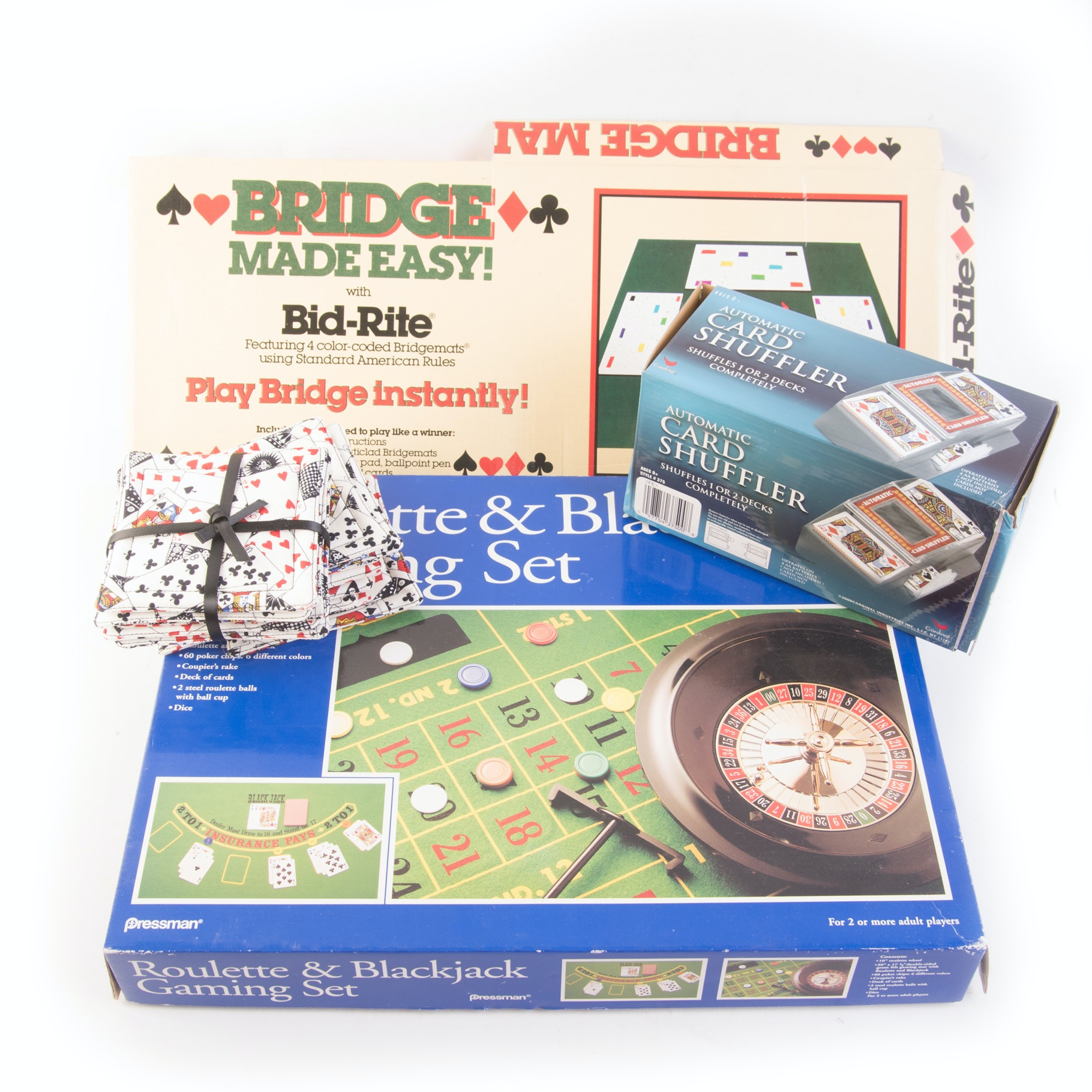 Game Sets, Automatic Card Shuffler, and Coasters