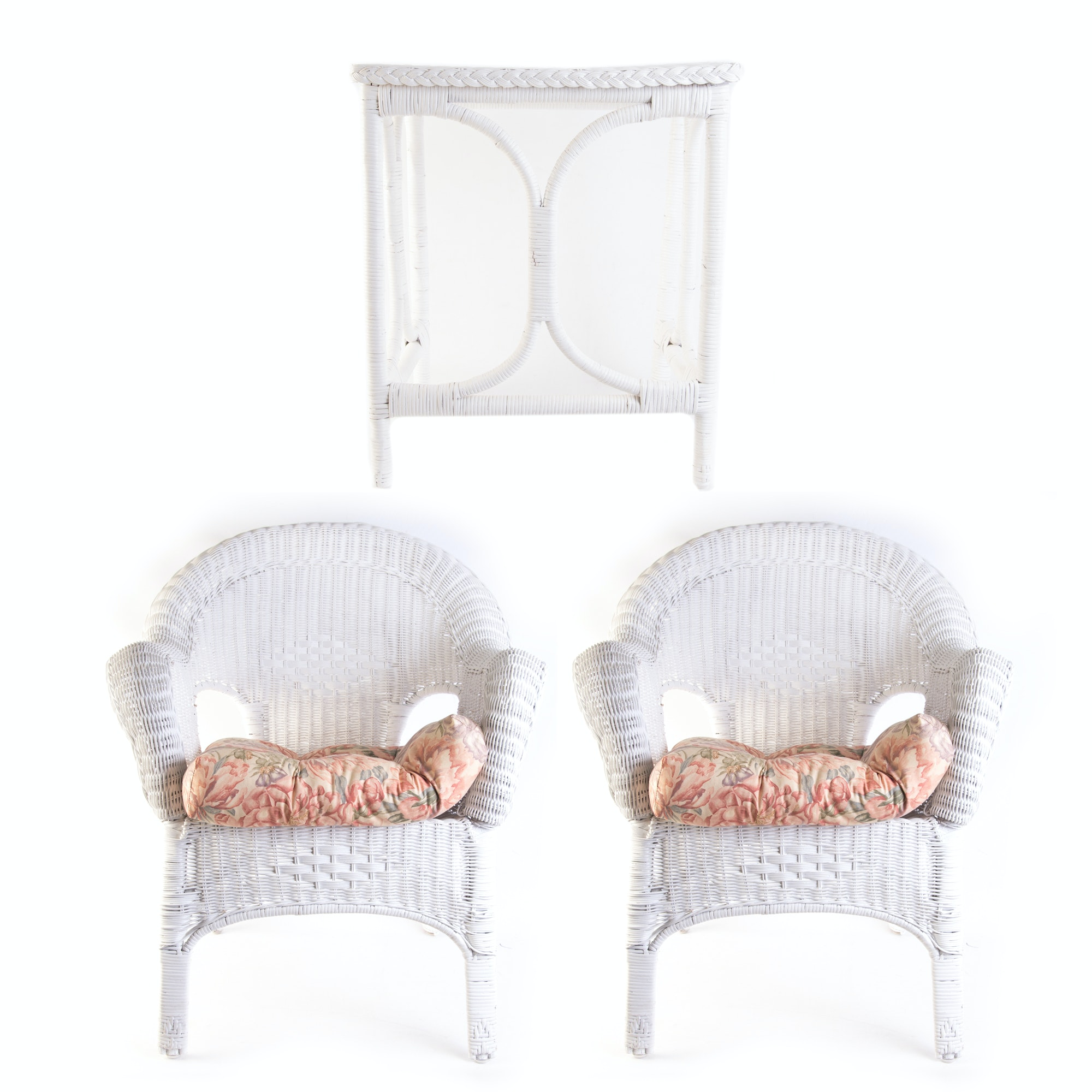 White Wicker Chairs and an End Table