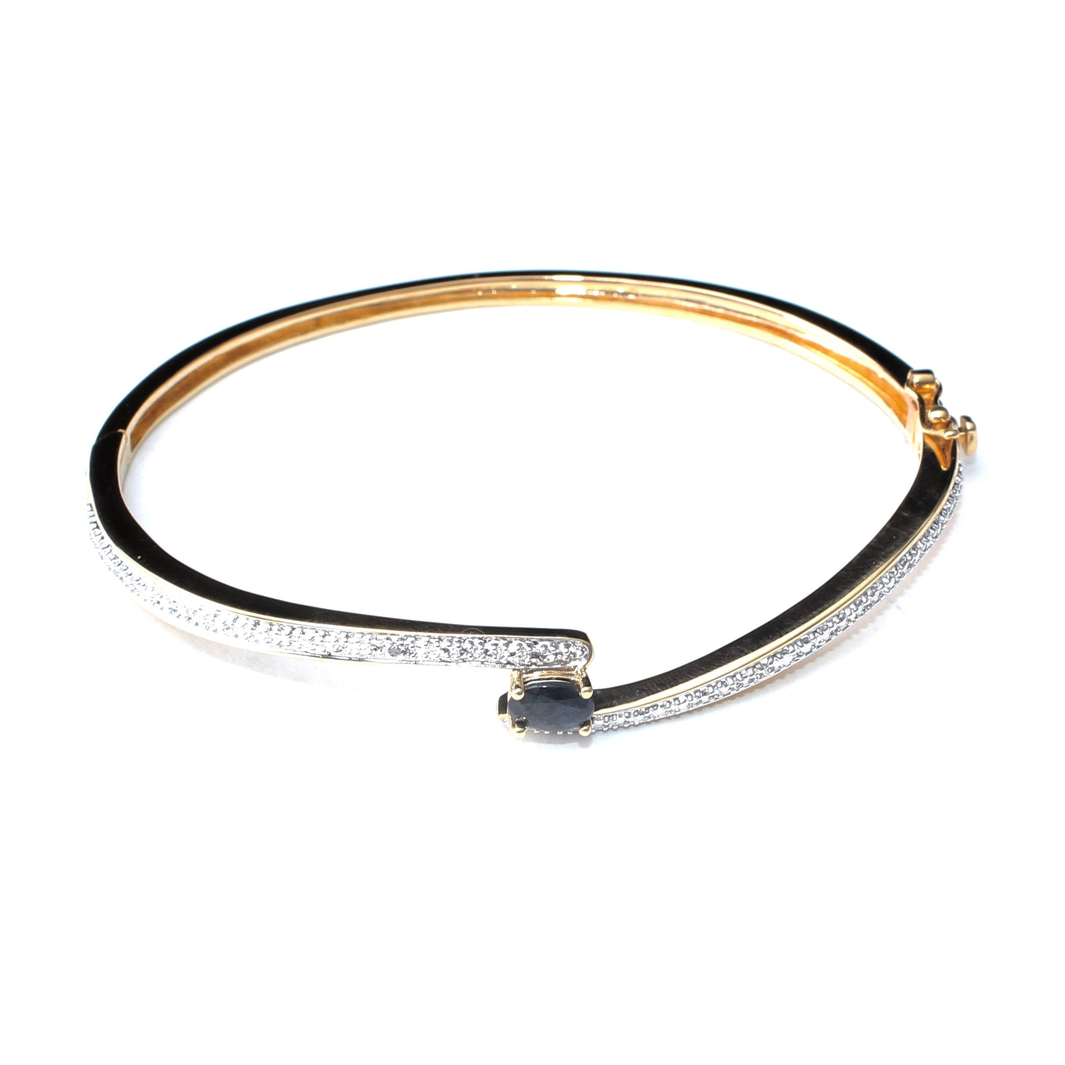 Sterling Silver Bangle Bracelet With Sapphire and Diamond