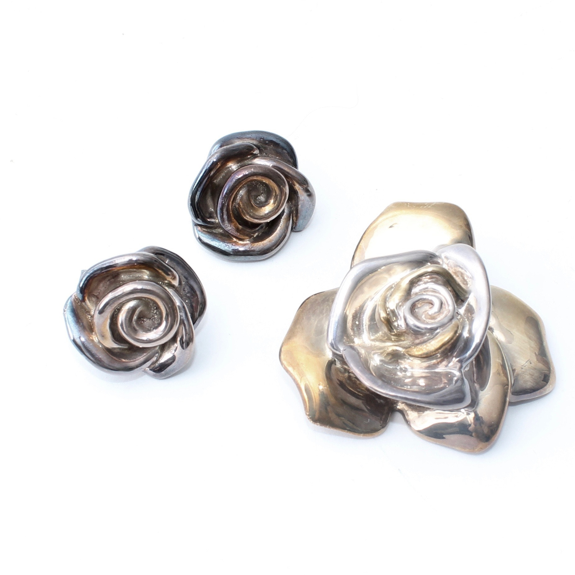 Sterling Silver Rose Brooch and Earrings