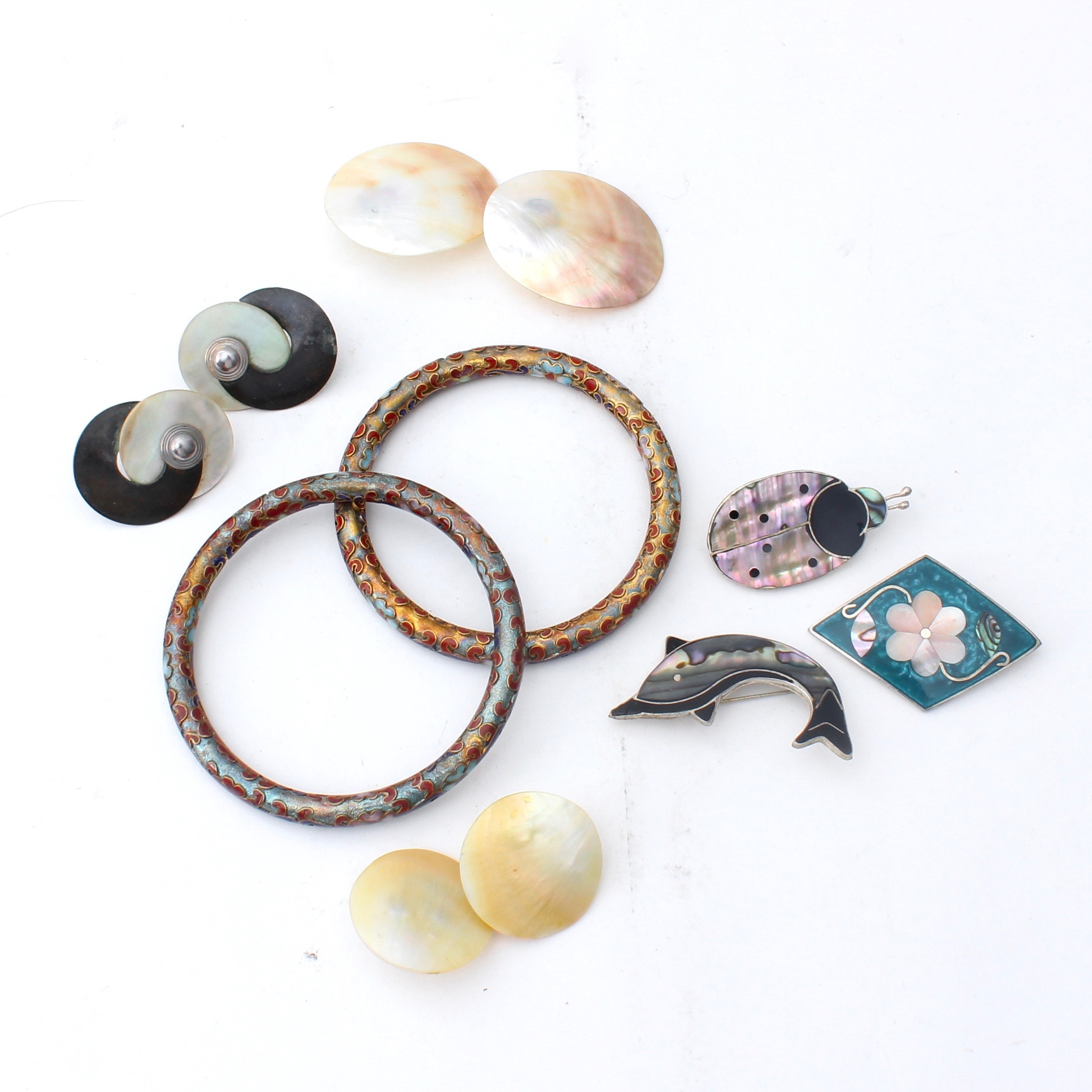 Mexico Alpaca Silver Brooches, Cloisonné Bracelets and Shell Earrings